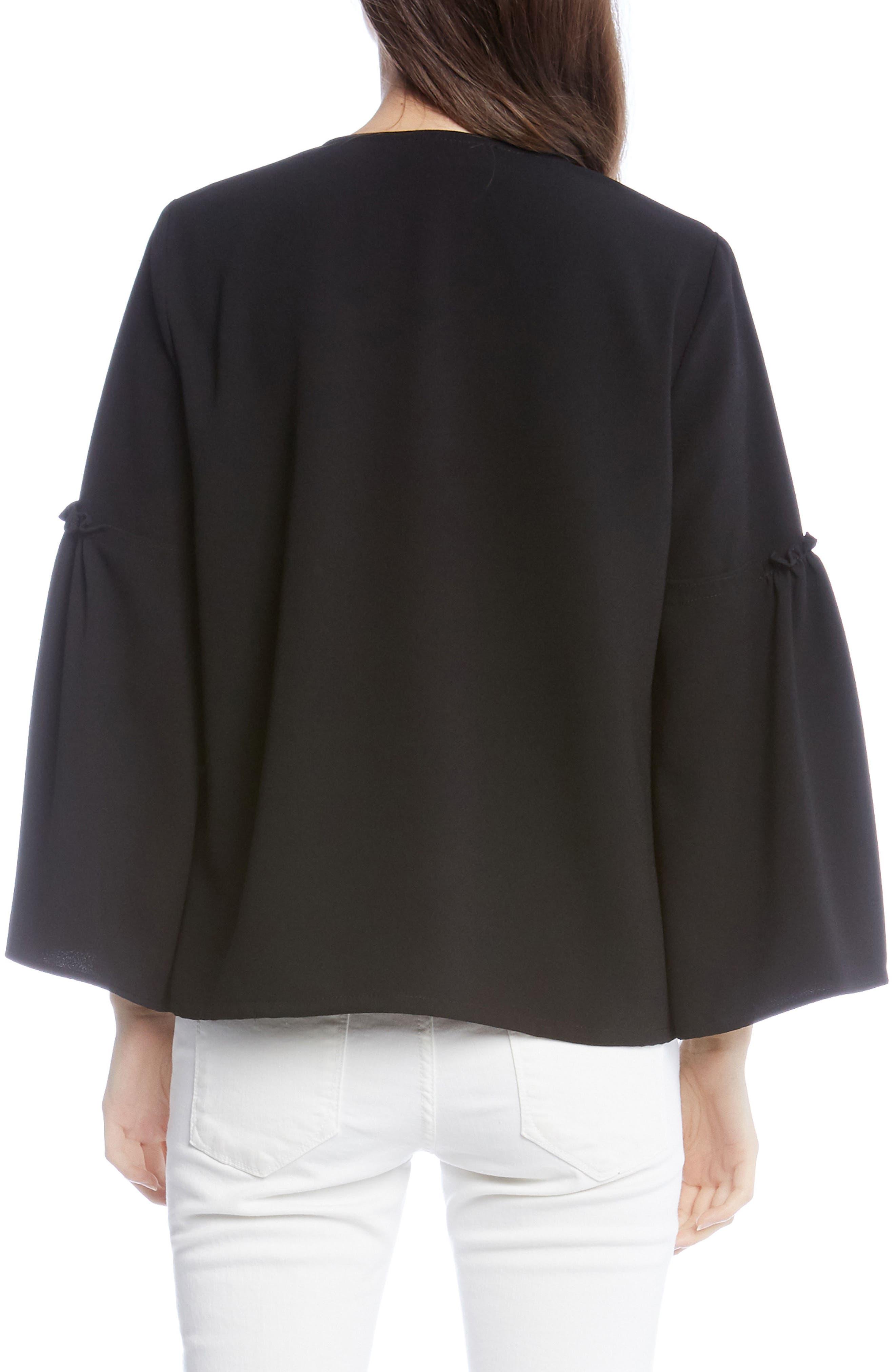 Bell Sleeve Crepe Top,                             Alternate thumbnail 2, color,                             Black
