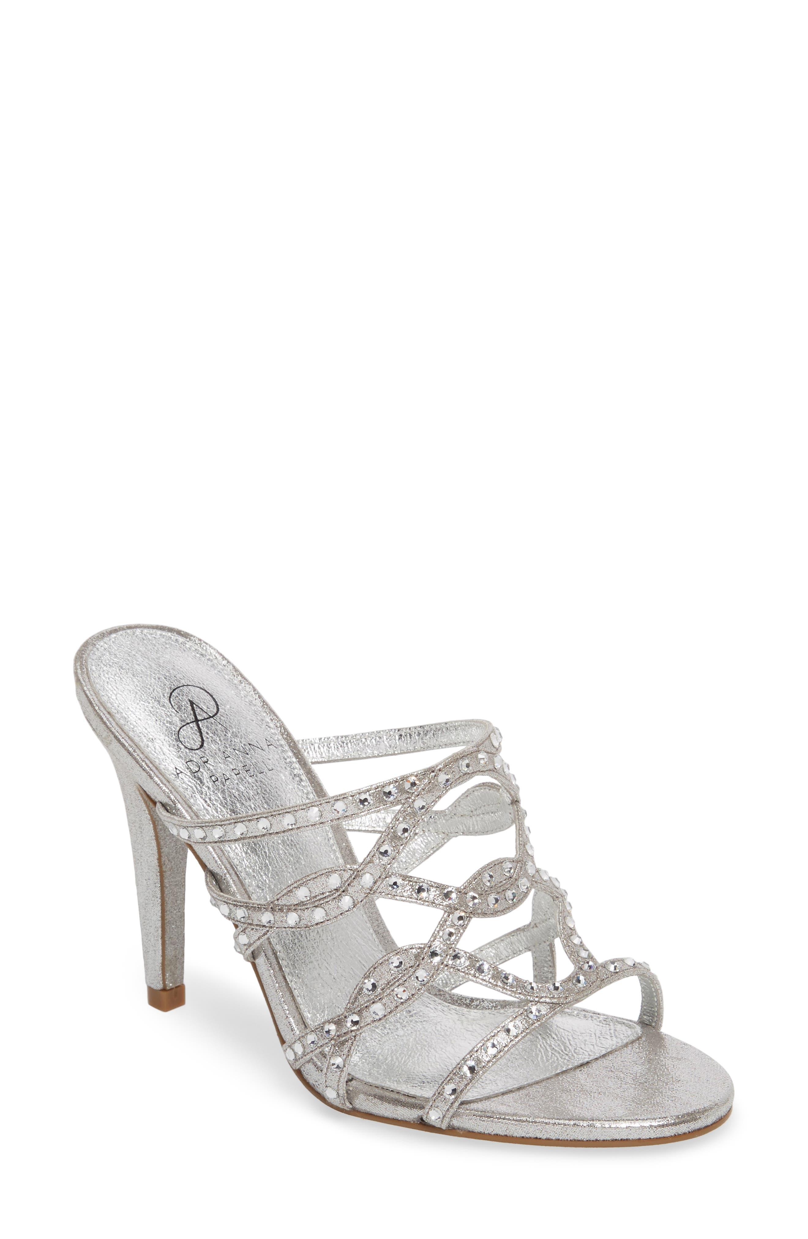 Emma Strappy Sandal,                         Main,                         color, Silver Fabric