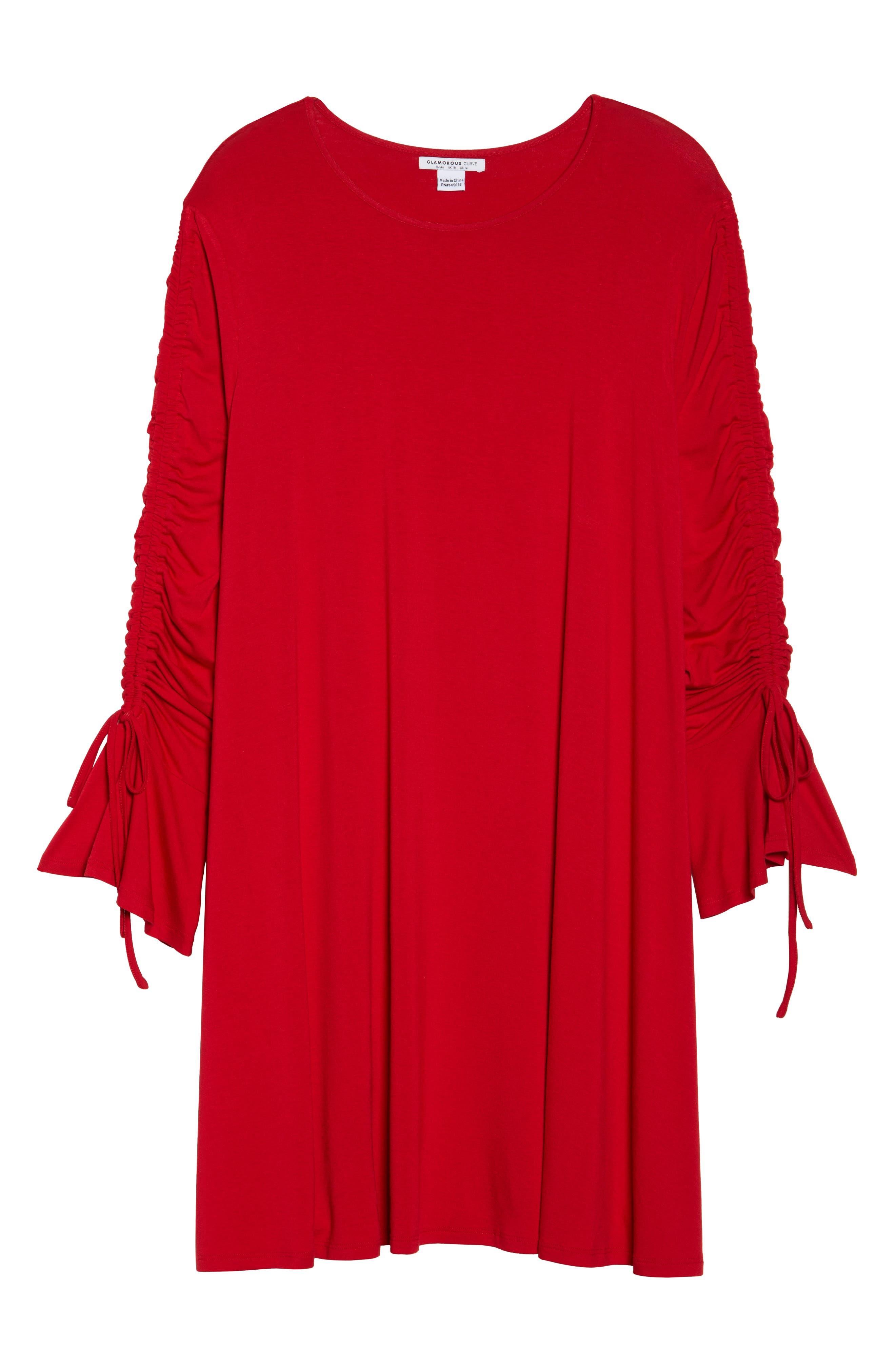 Tulip Sleeve Shift Dress,                             Alternate thumbnail 6, color,                             Red