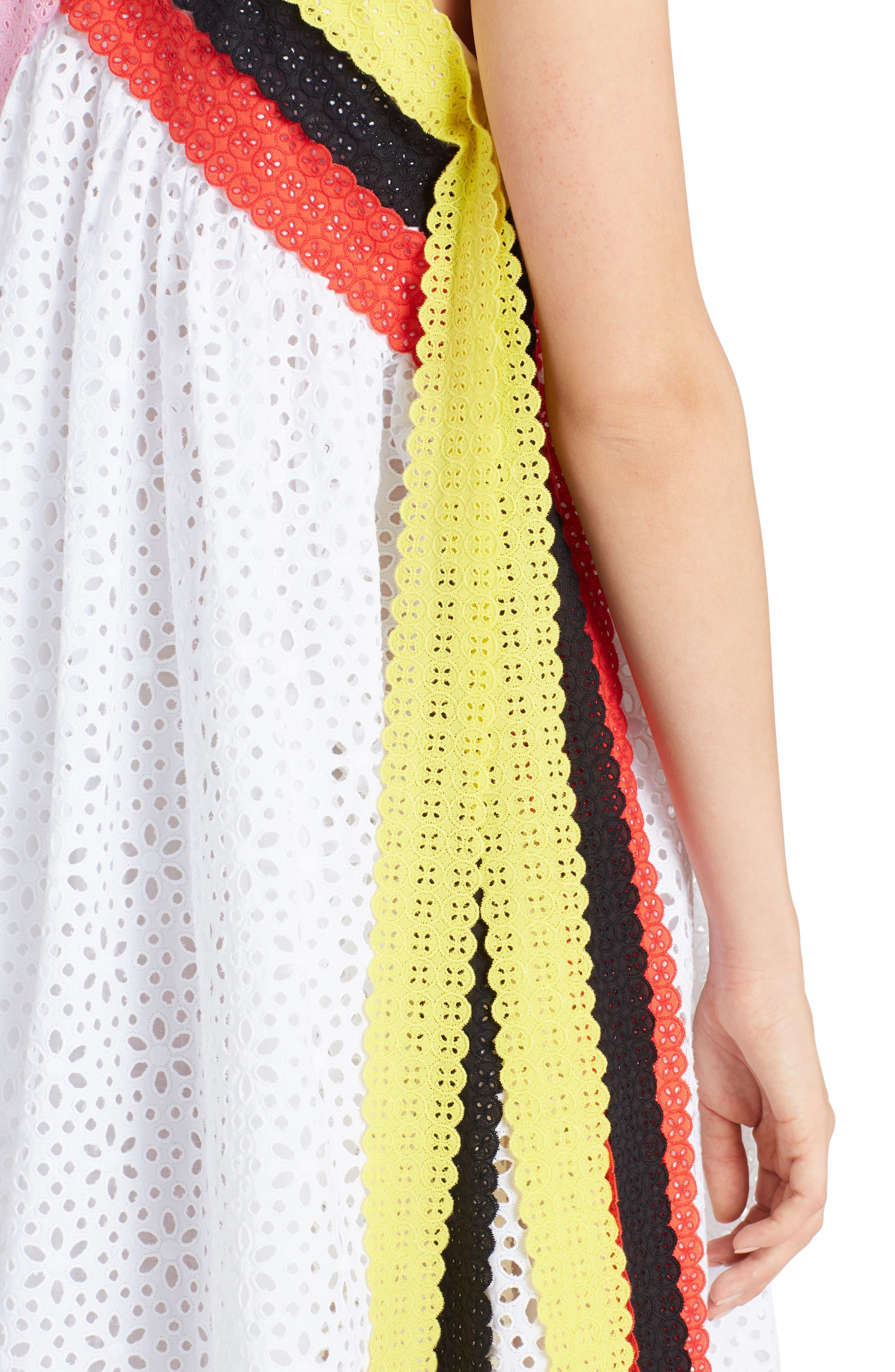 Multicolor Eyelet Midi Dress,                             Alternate thumbnail 4, color,                             White