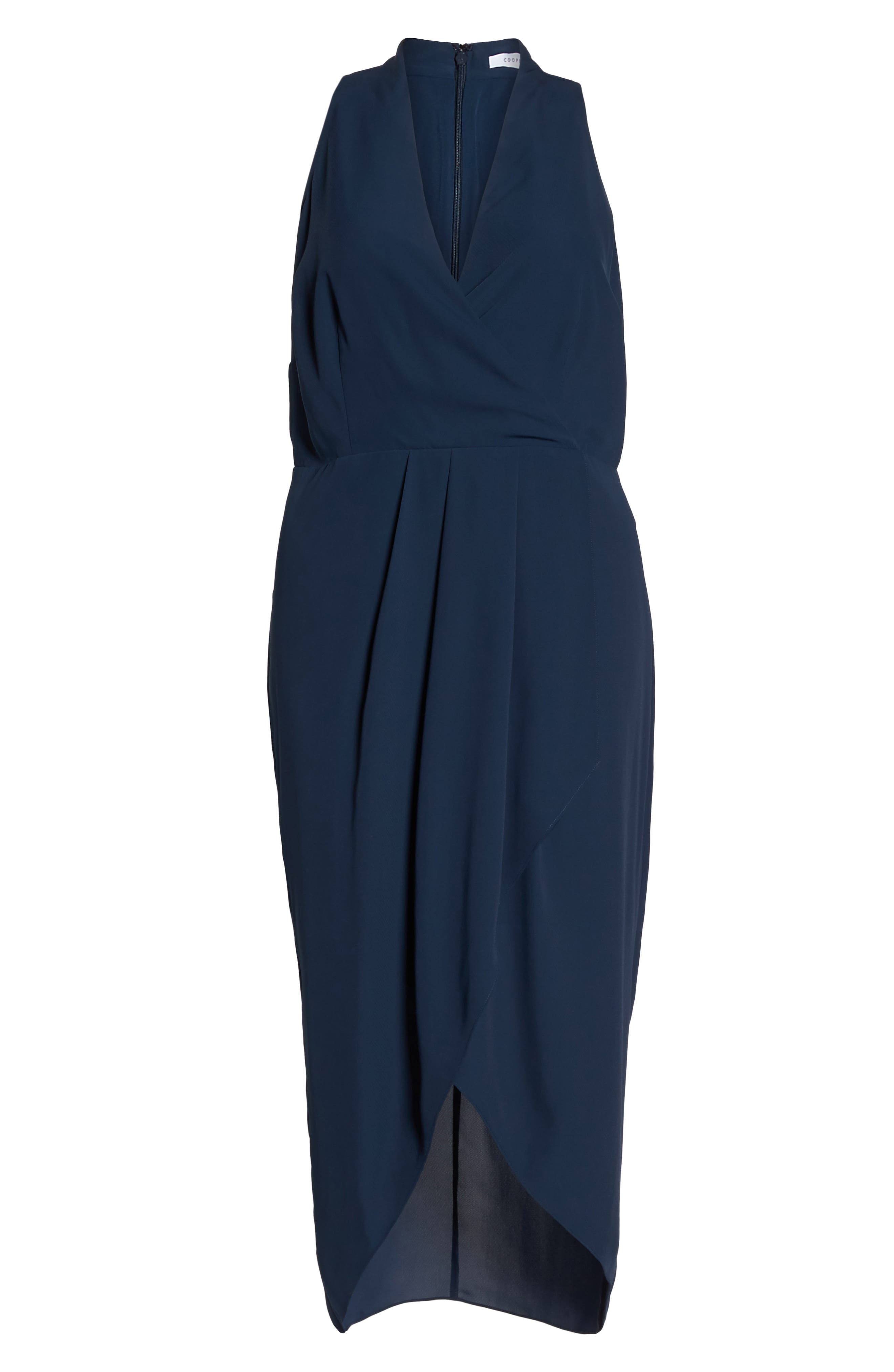 Evening Light Drape Dress,                             Alternate thumbnail 6, color,                             Iron Navy