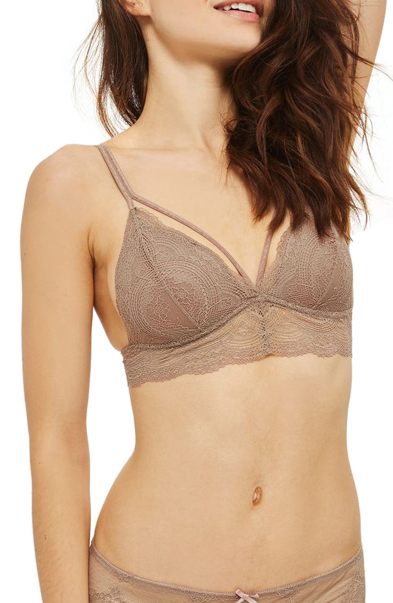 Wild Flower Lace Padded Triangle Bralette,                             Main thumbnail 1, color,                             Taupe