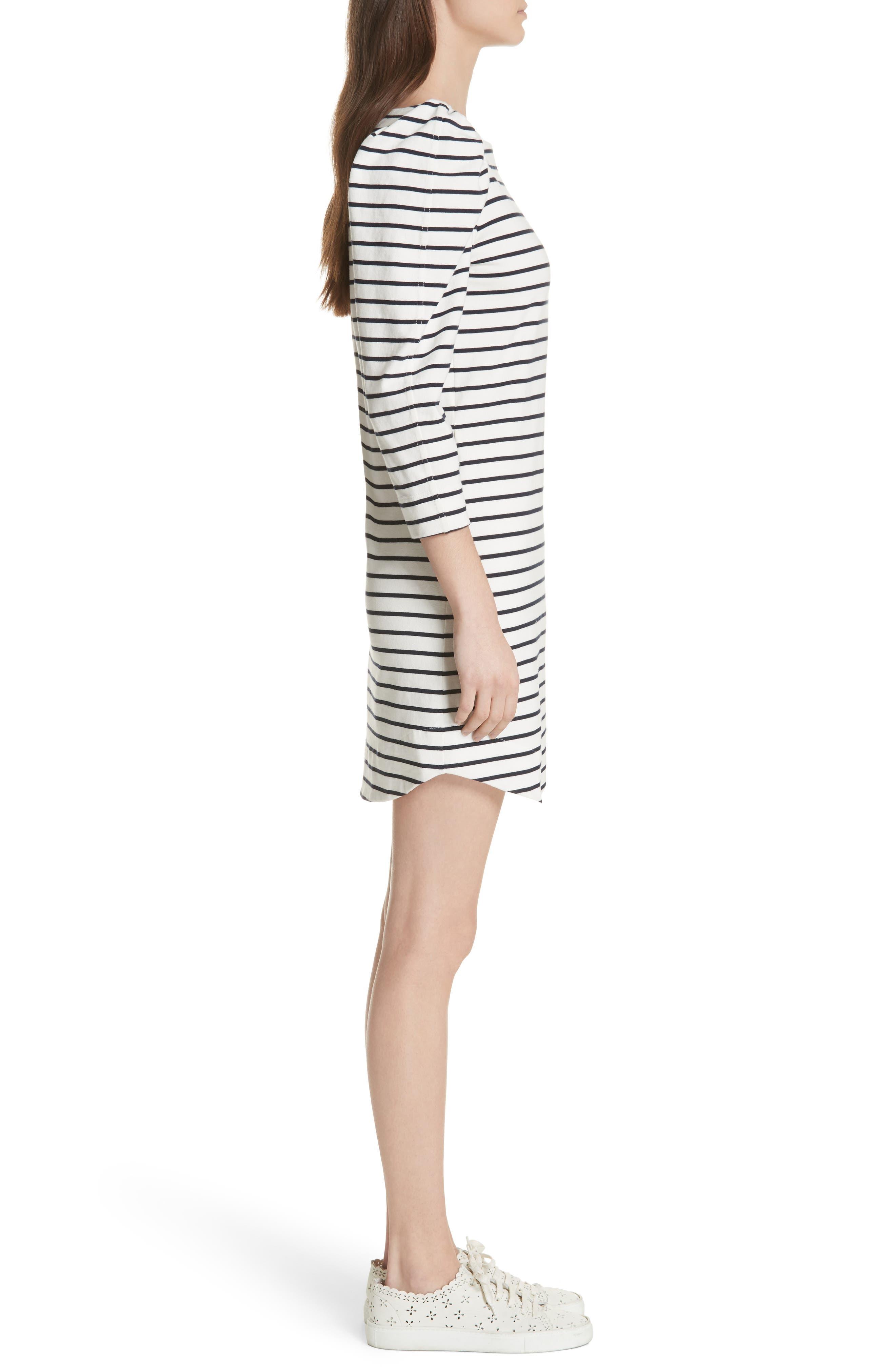 Stripe Knit Dress,                             Alternate thumbnail 3, color,                             Milk Combo