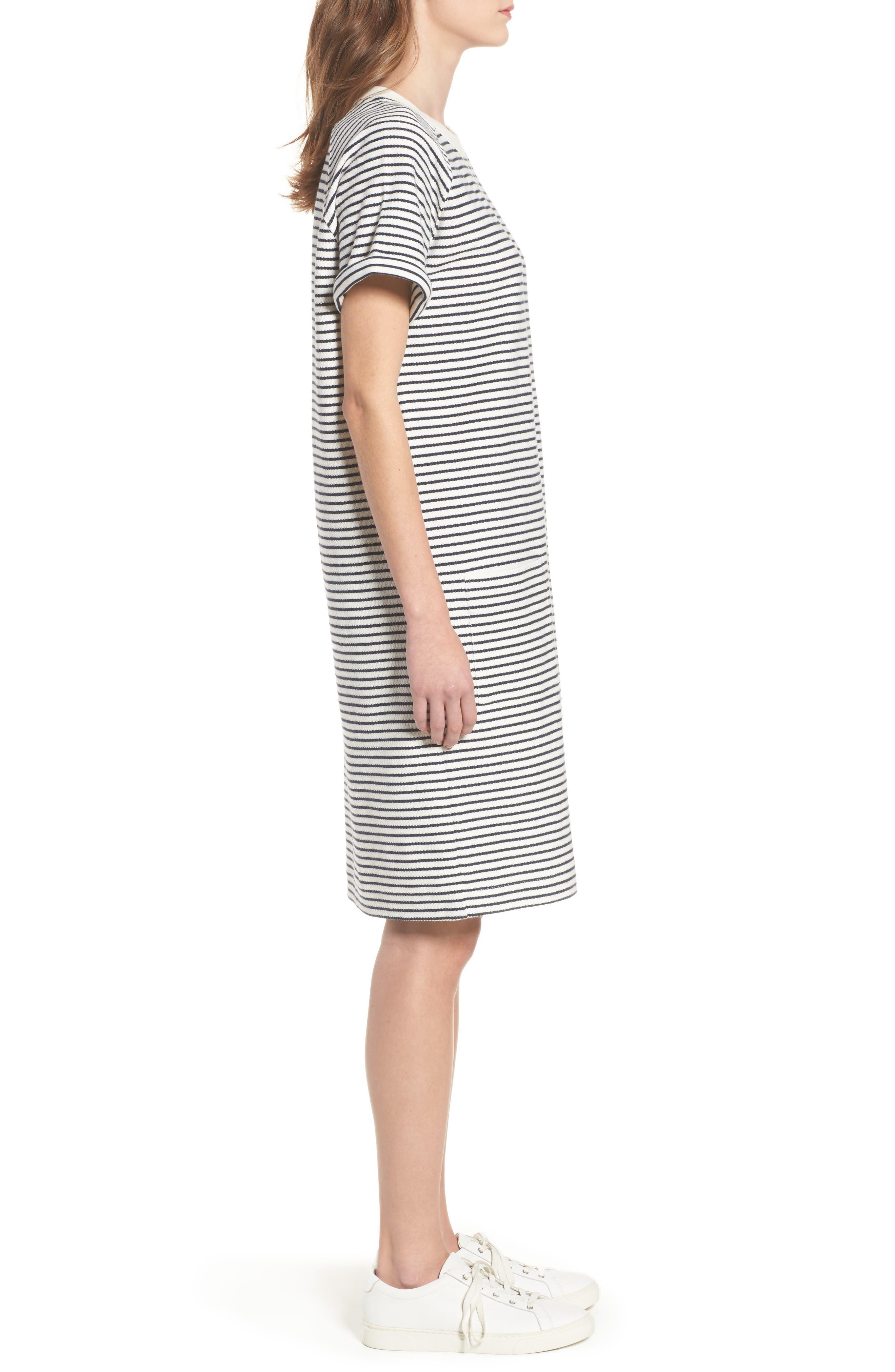 Monreith Stripe Shift Dress,                             Alternate thumbnail 3, color,                             White/ Navy