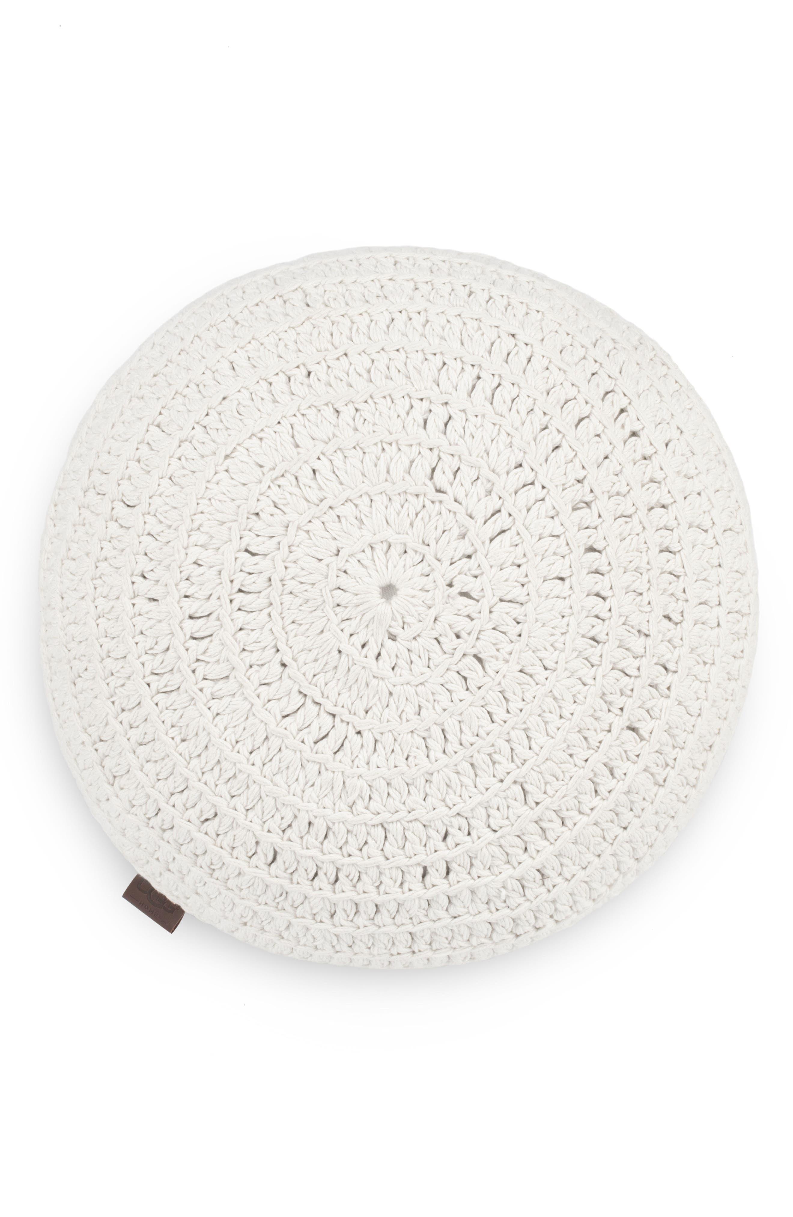 Round Crochet Accent Pillow,                         Main,                         color, Snow