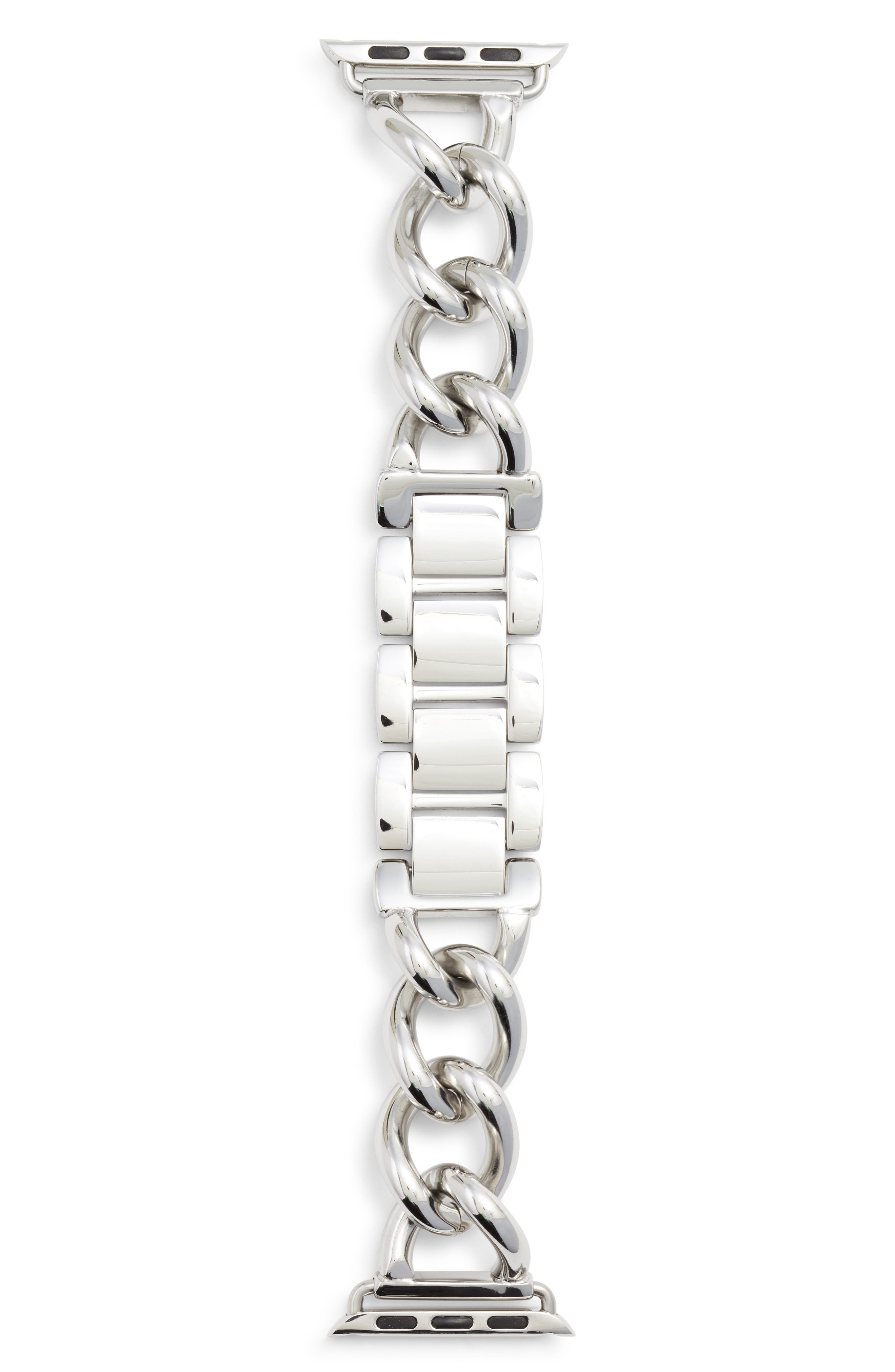 Bezels & Bytes Chunky Chain Apple Watch Band, 38mm,                         Main,                         color, Silver