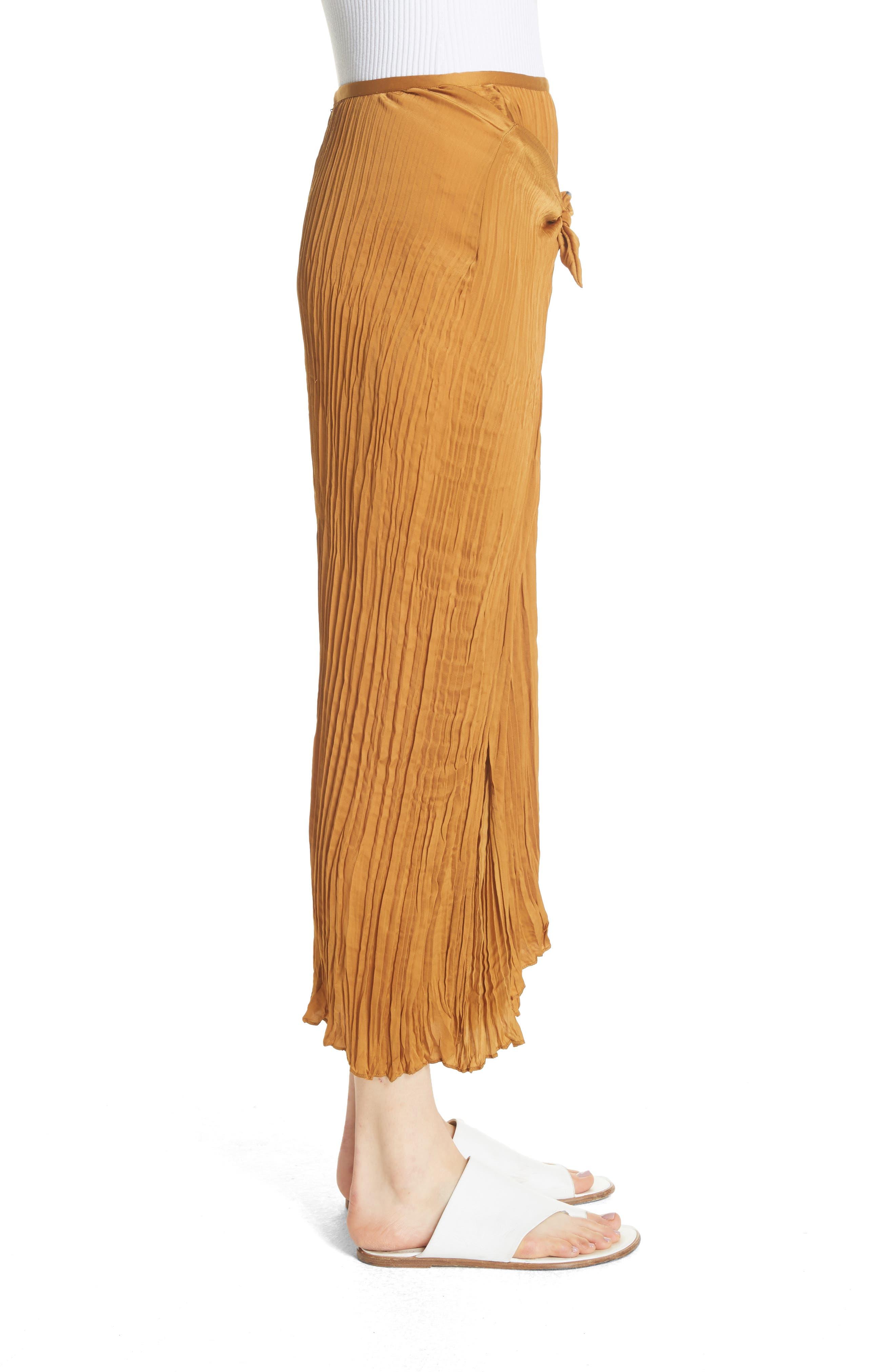 Pleated Tie Front Midi Skirt,                             Alternate thumbnail 3, color,                             Turmeric