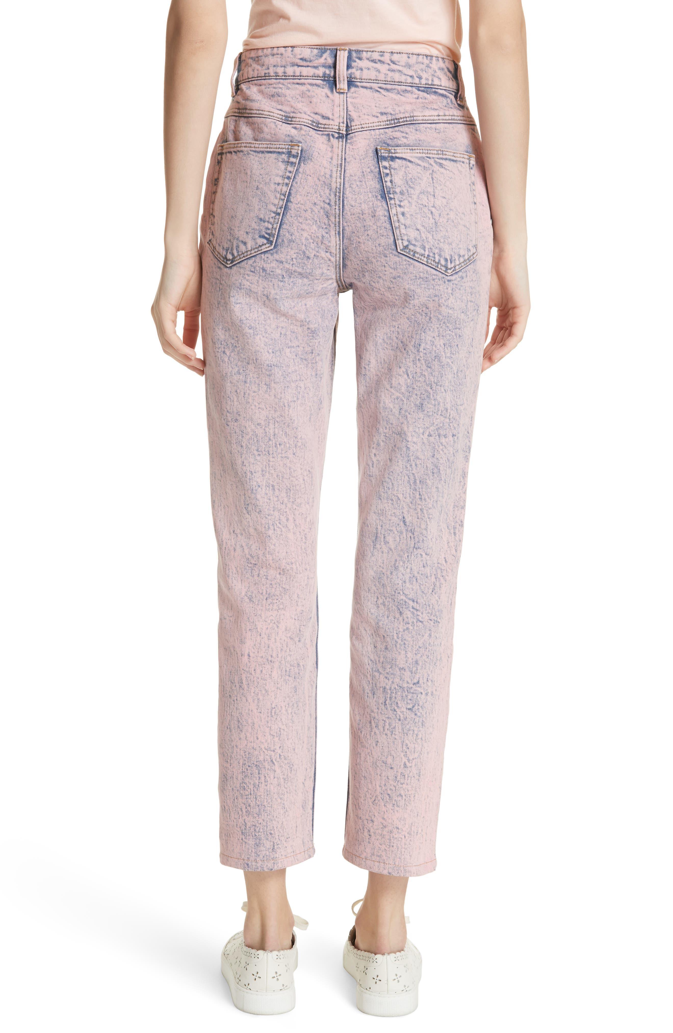 Ines Acid Wash Crop Jeans,                             Alternate thumbnail 2, color,                             Pink Overdyed Acid Wash