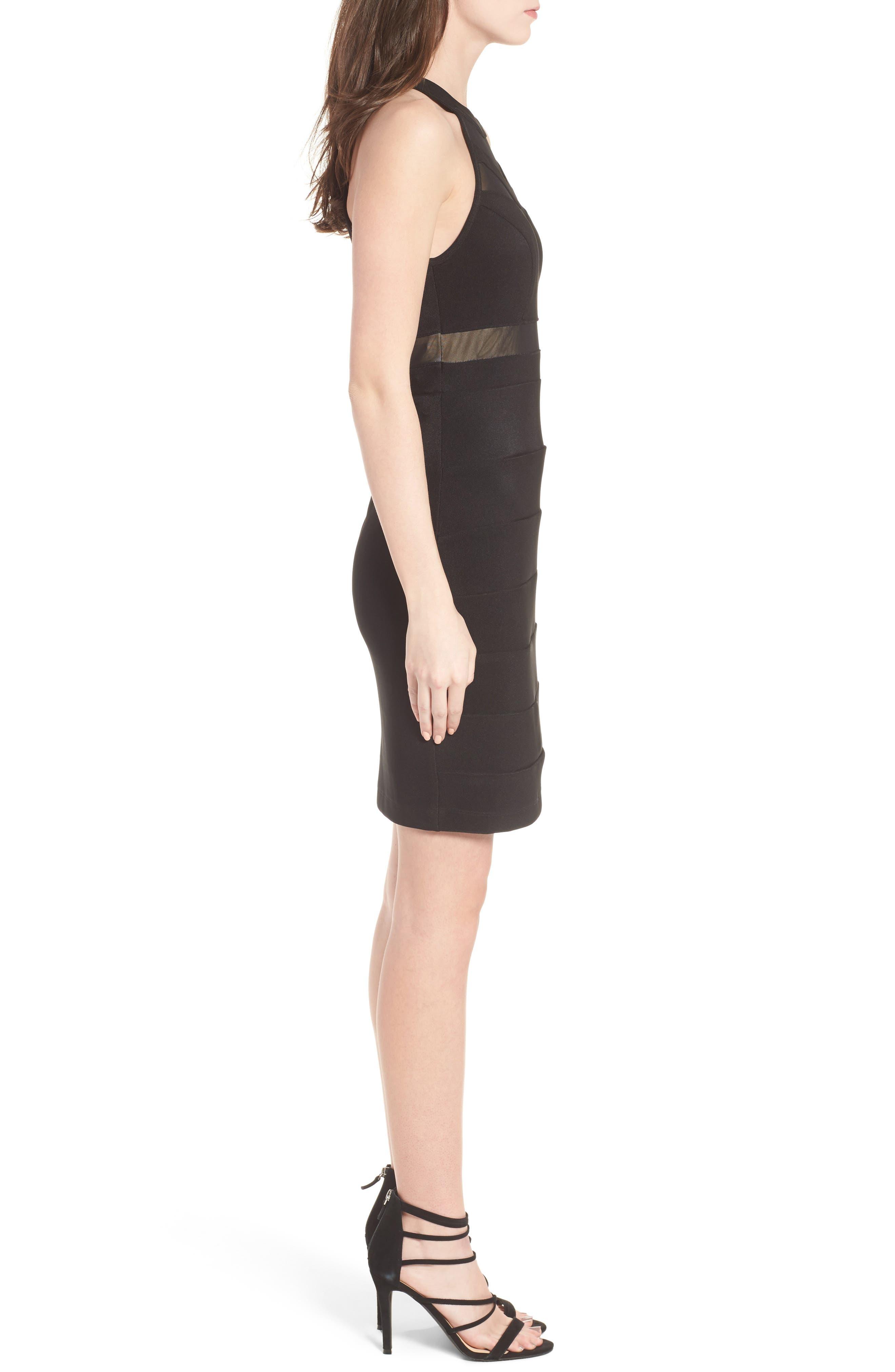 Illusion Body-Con Dress,                             Alternate thumbnail 3, color,                             Black