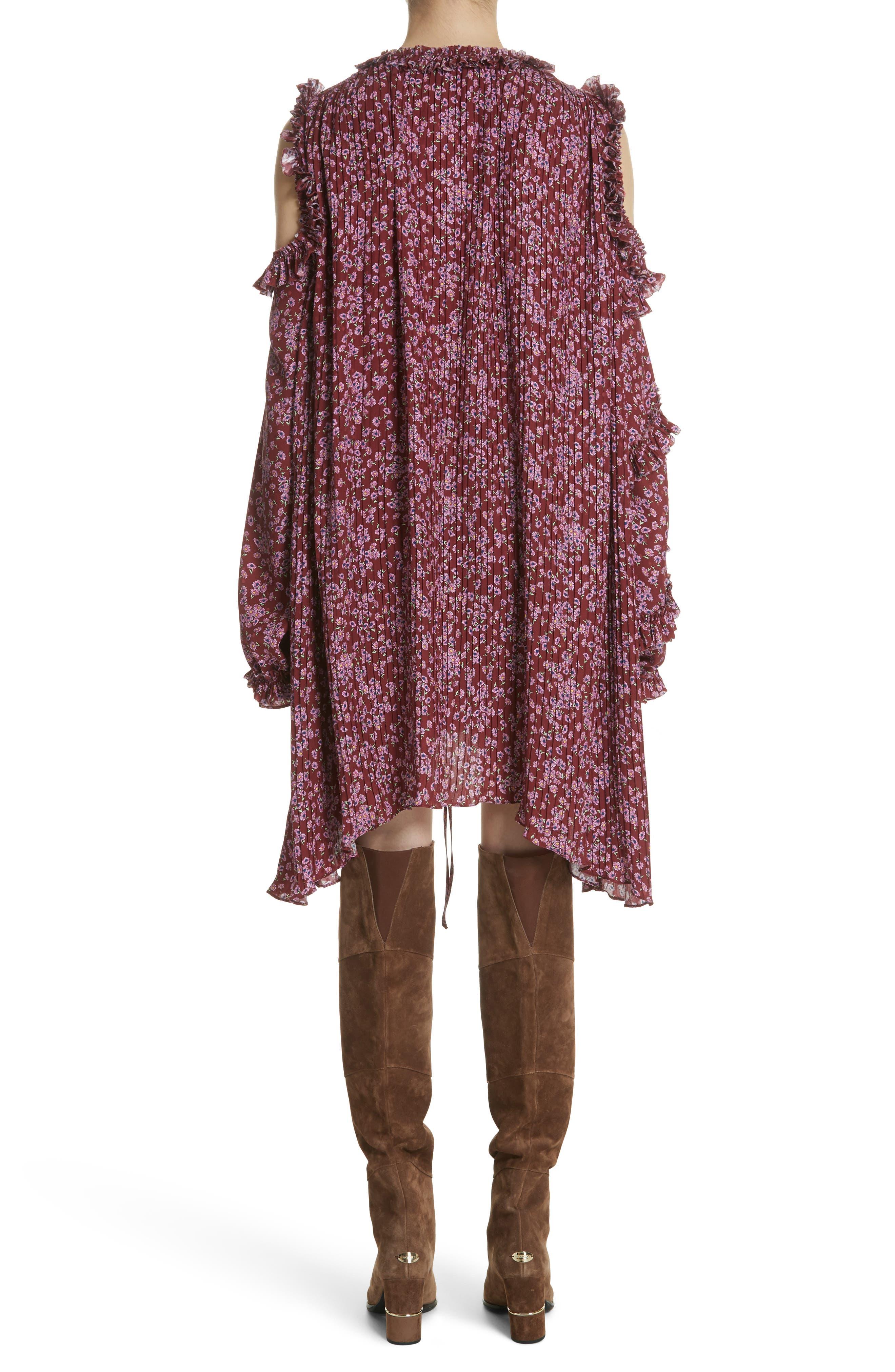 Floral Silk Cold Shoulder Dress,                             Alternate thumbnail 3, color,                             Bordeaux