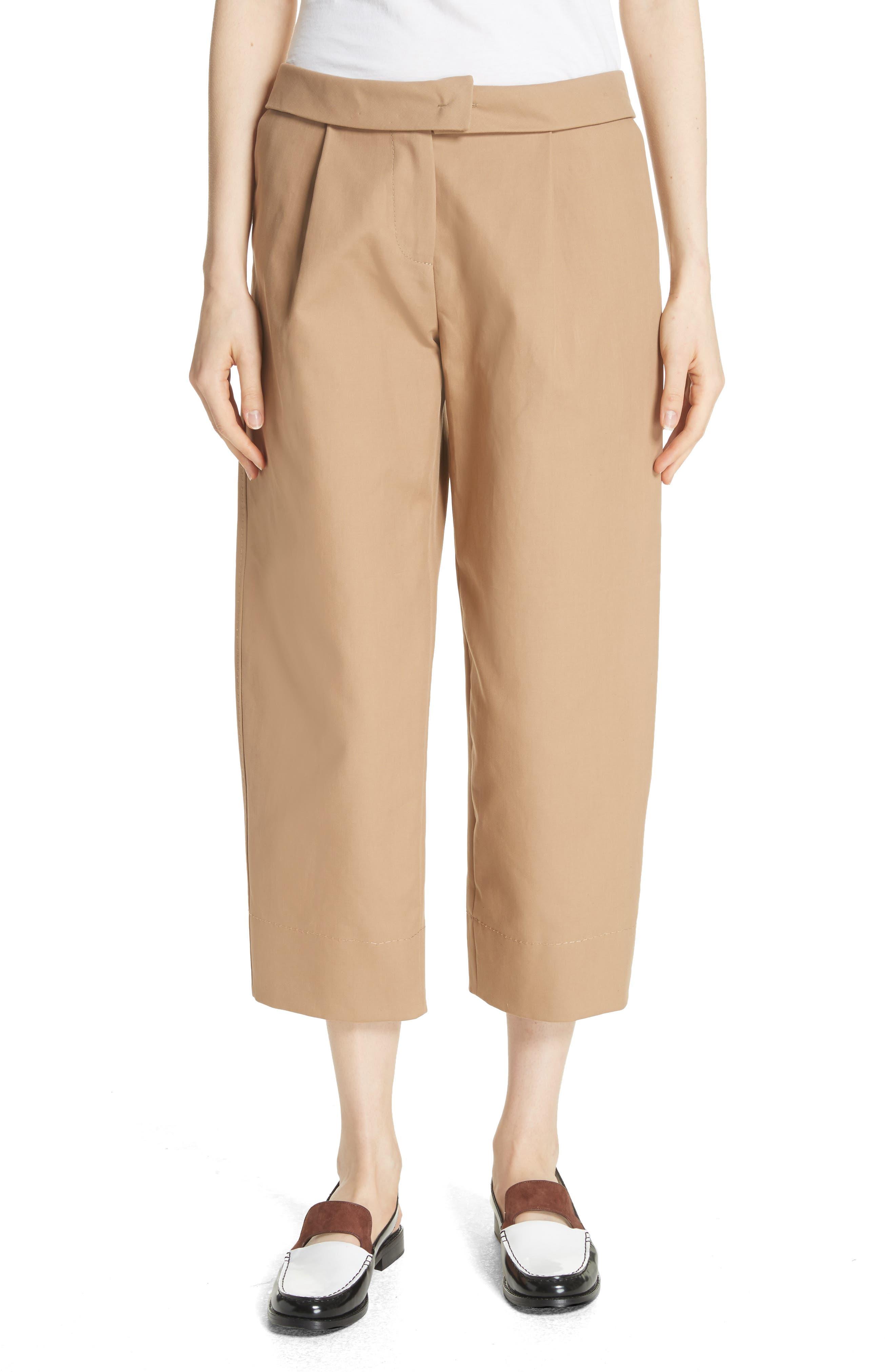 Cotton Crop Pants,                         Main,                         color, Camel