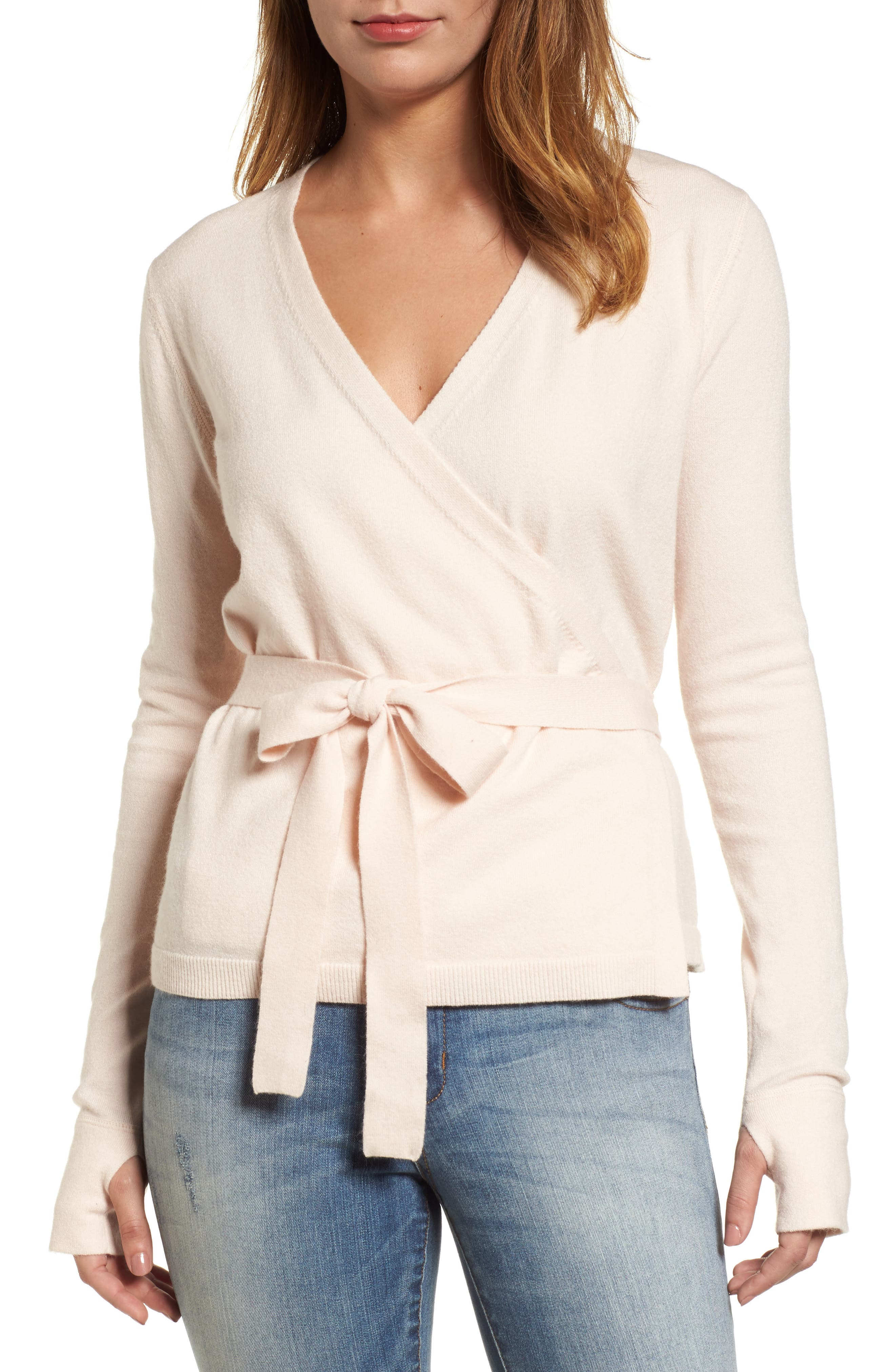 Off-Duty Ballet Tie Front Sweater,                         Main,                         color, Pink Morganite