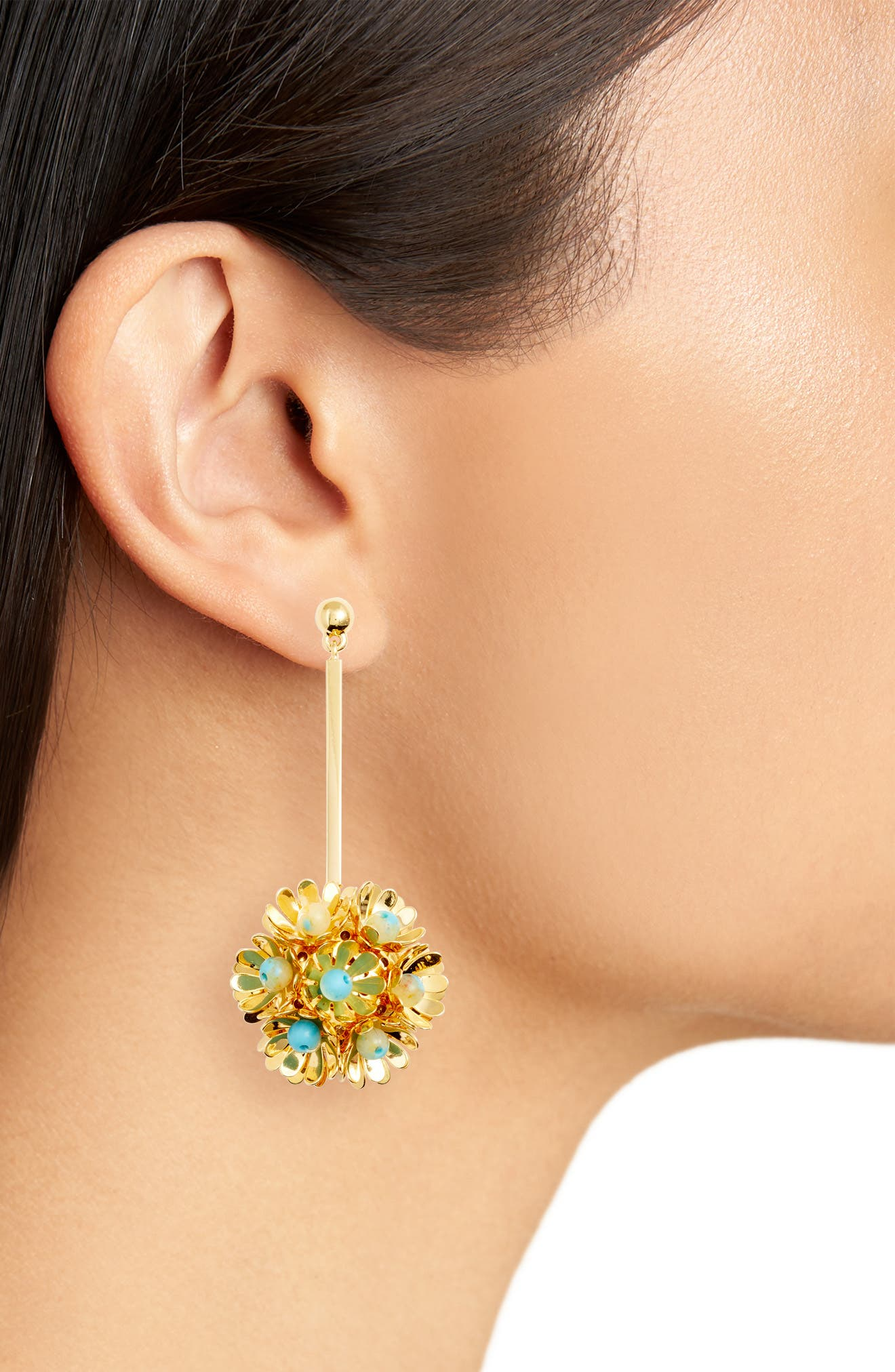 Plumeria Drop Earrings,                             Alternate thumbnail 2, color,                             Golden Turquoise