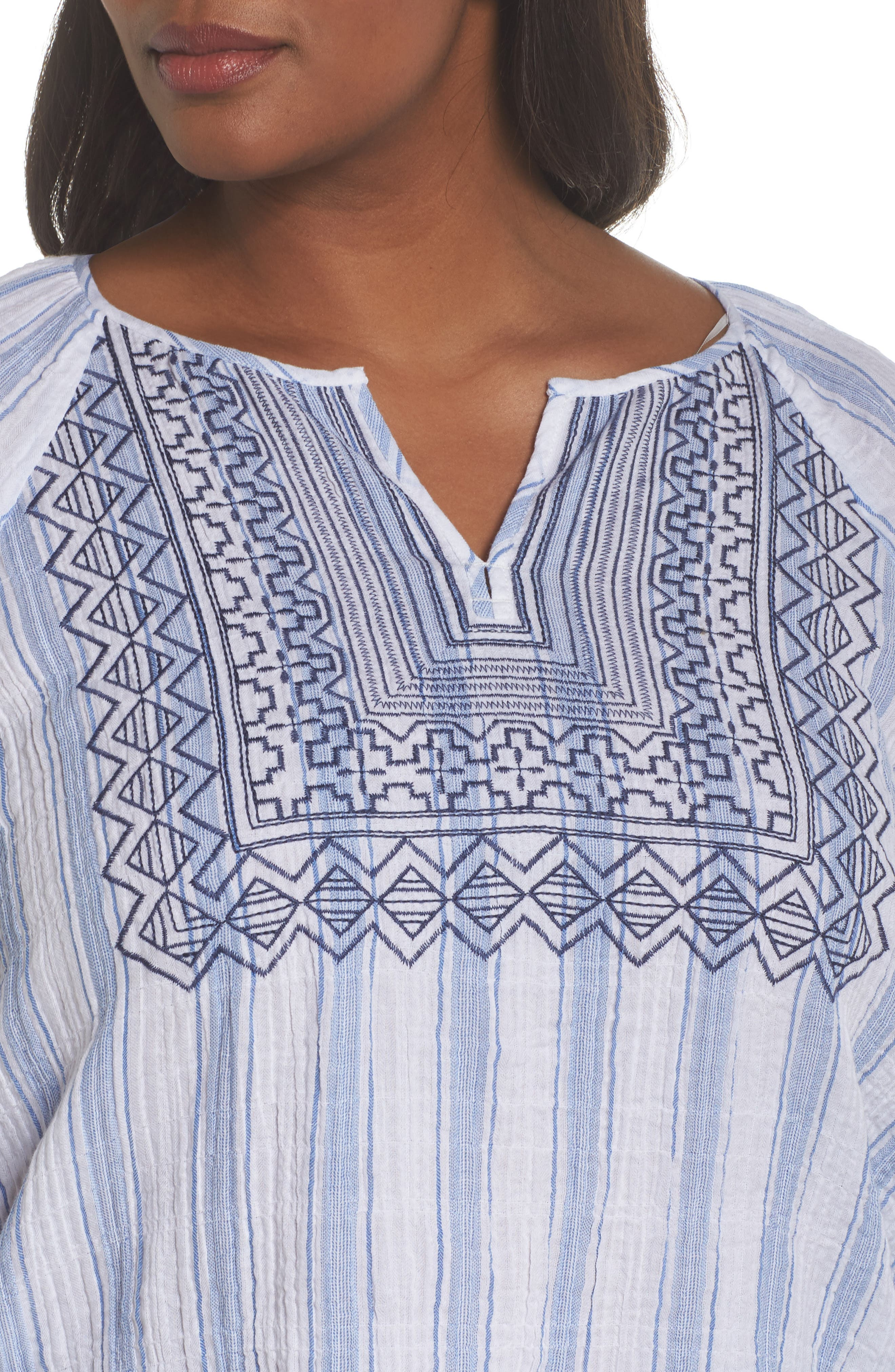 Embroidered Stripe Top,                             Alternate thumbnail 4, color,                             Patina Blue