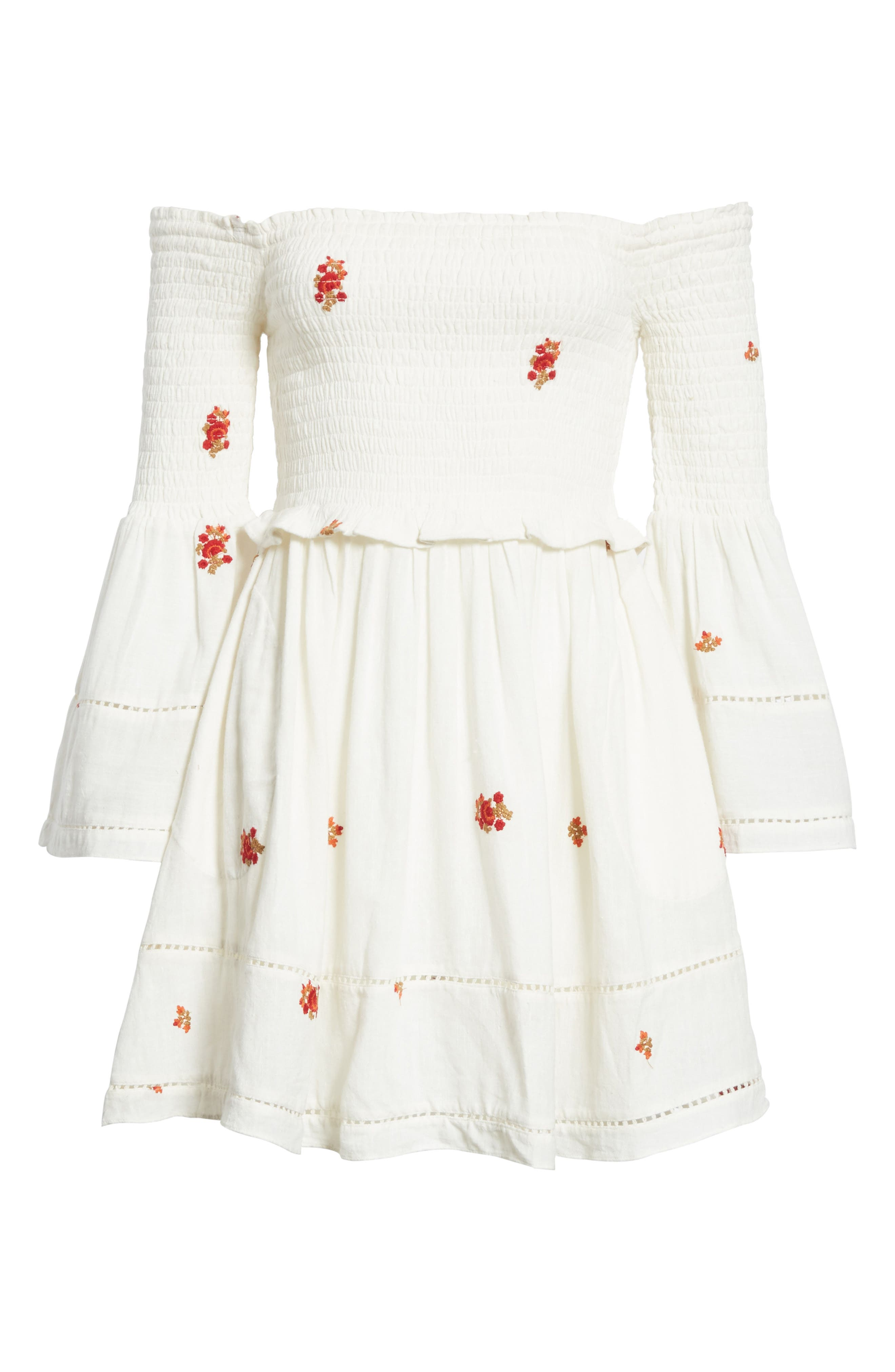 Counting Daisies Embroidered Off the Shoulder Dress,                             Alternate thumbnail 6, color,                             Ivory Combo