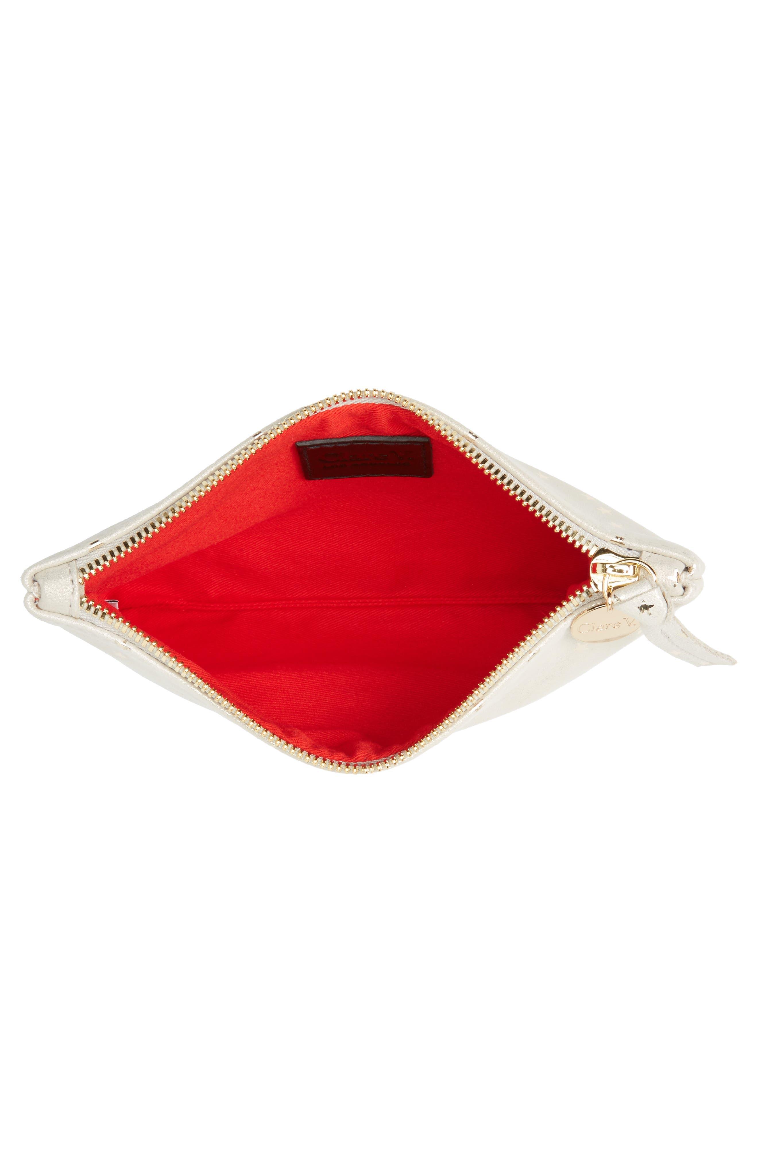 Alternate Image 4  - Clare V. Supreme Star Shimmer Suede Wallet Clutch