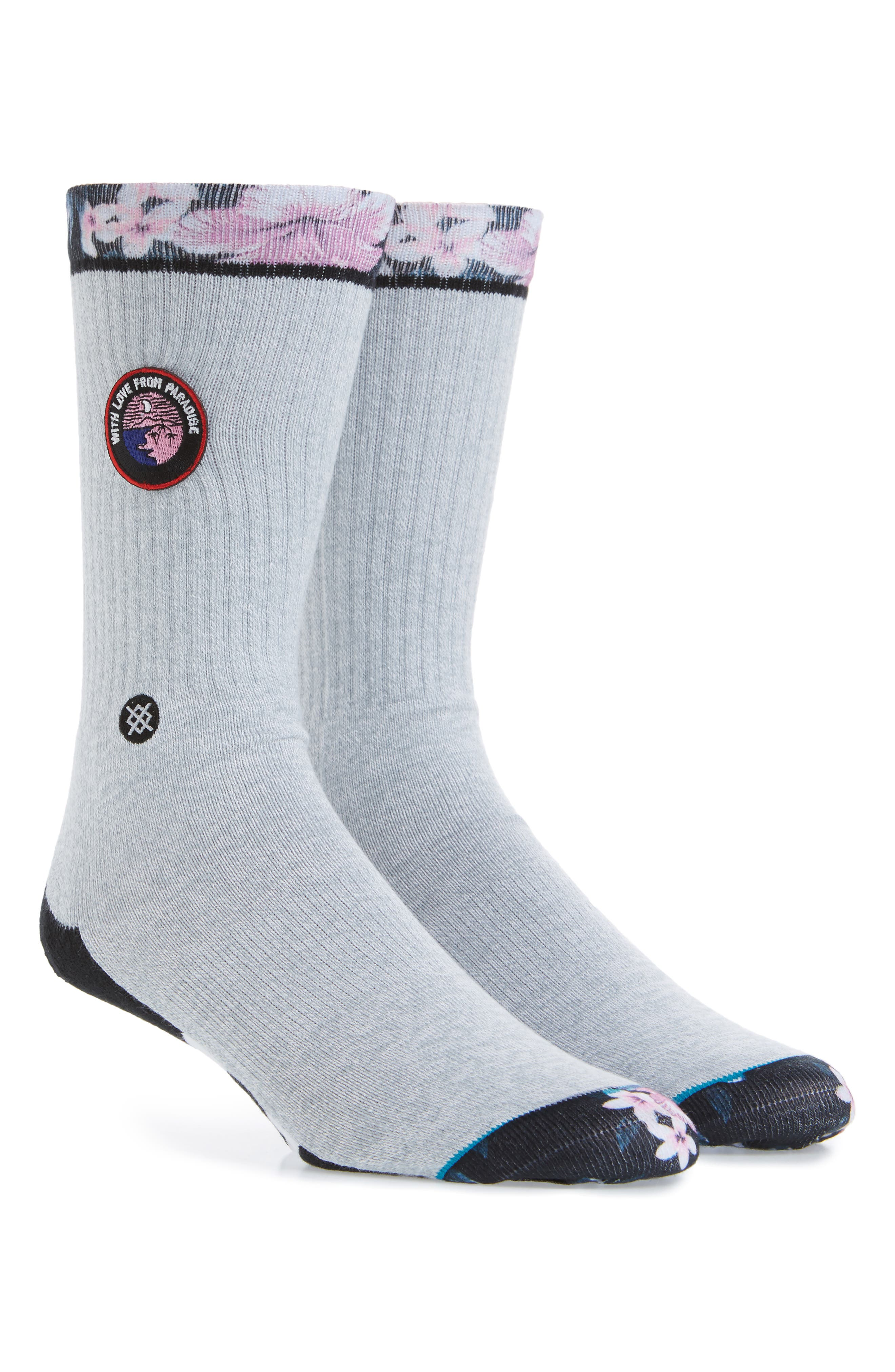 With Love Paradise Patch Crew Socks,                         Main,                         color, Grey