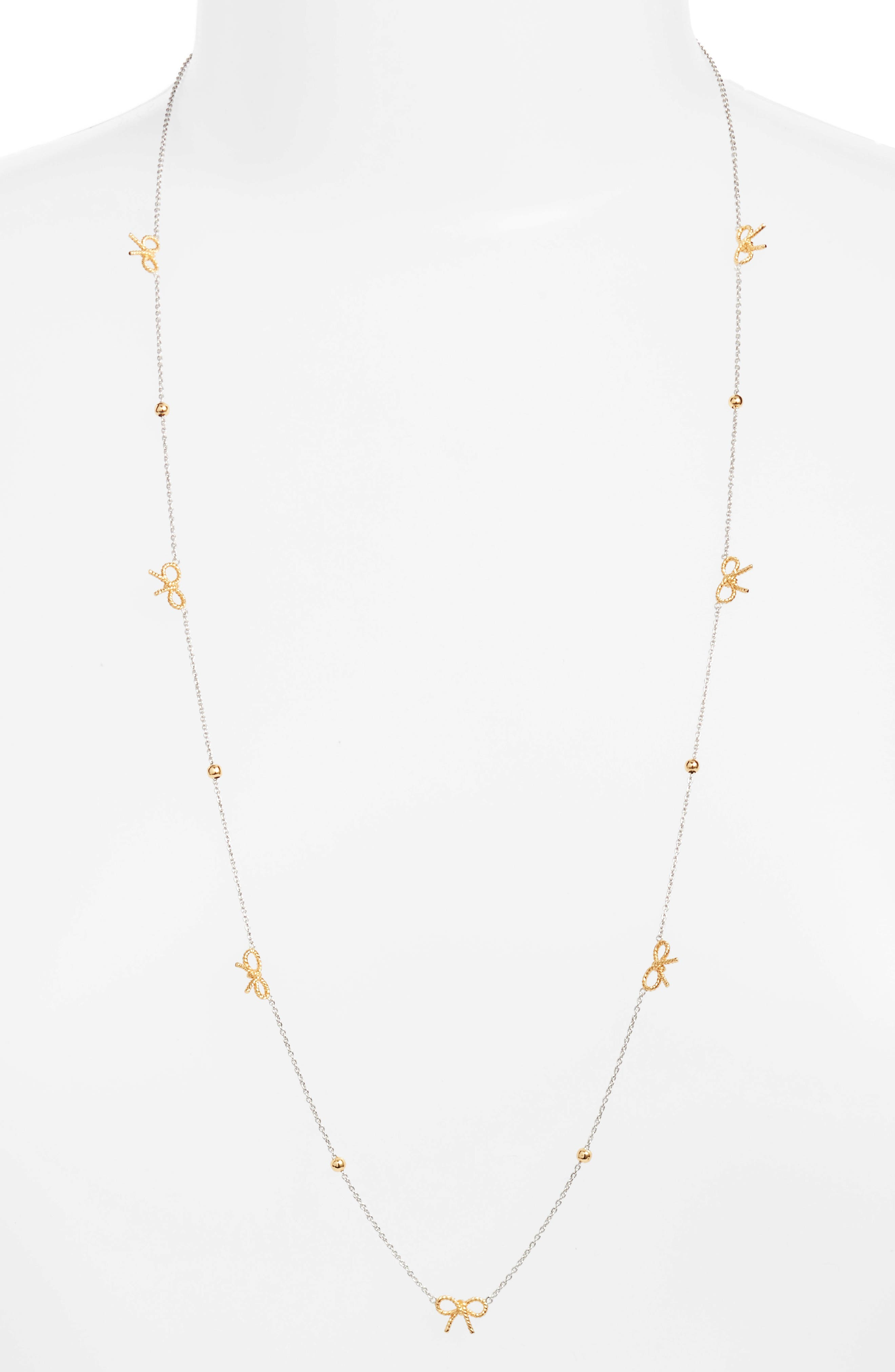 Bow Chain Necklace,                         Main,                         color, Silver/ Gold