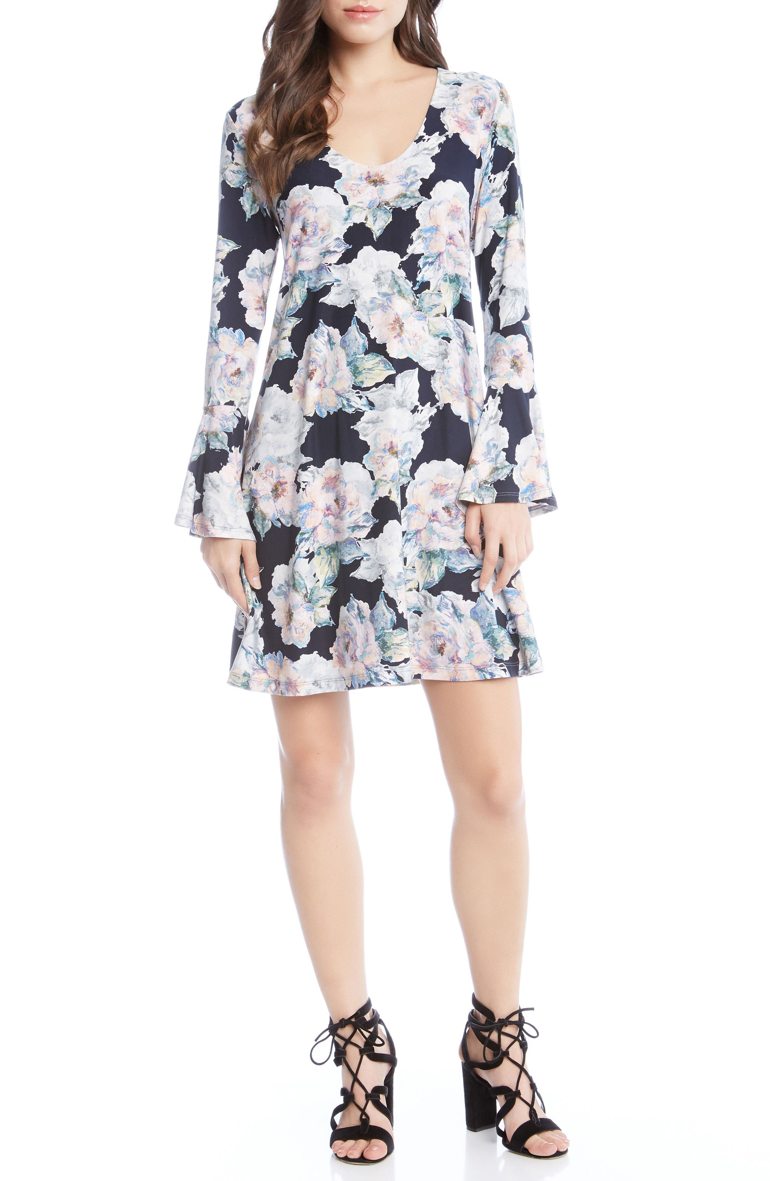 Taylor Bell Sleeve Dress,                             Main thumbnail 1, color,                             Floral