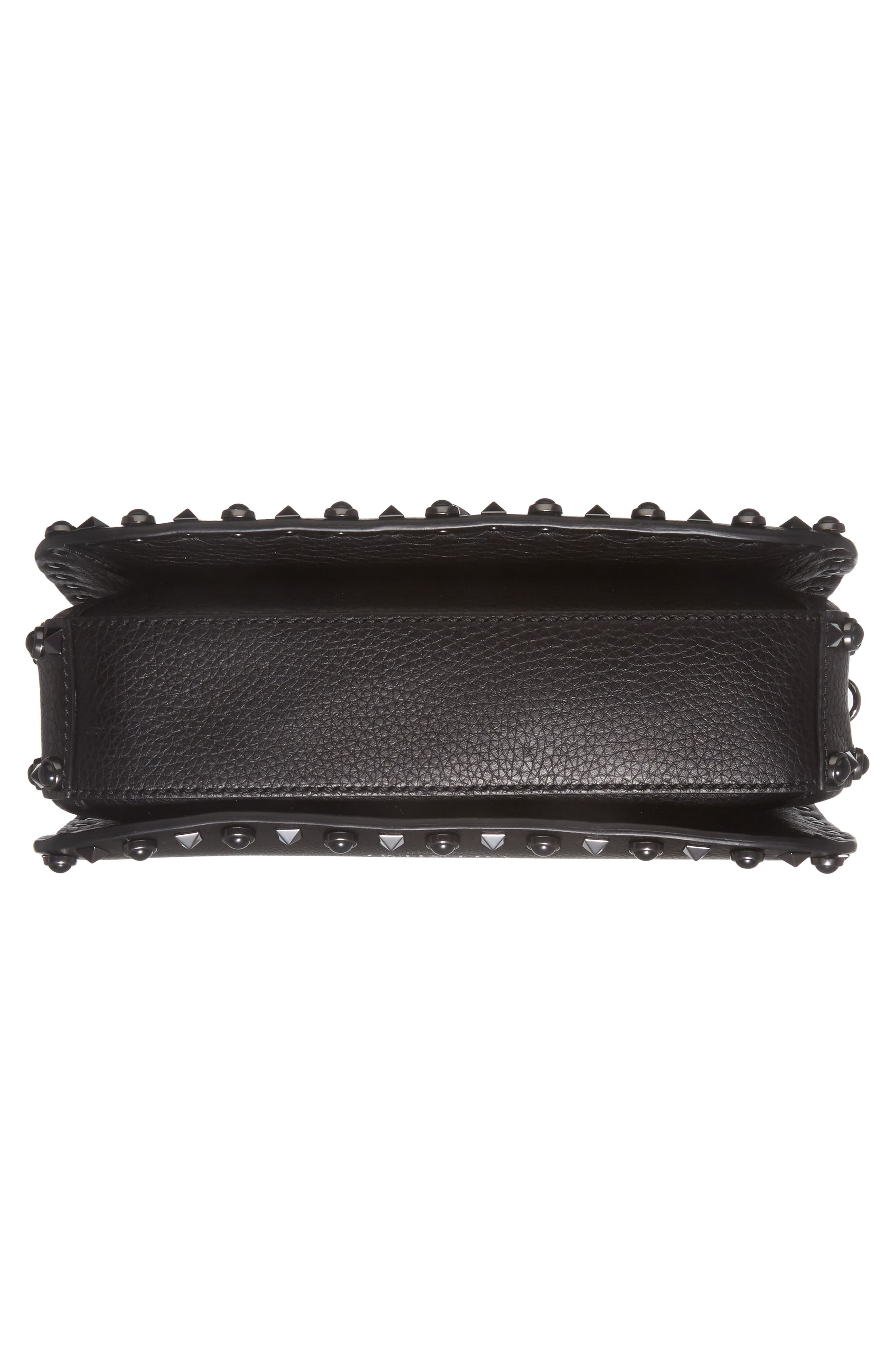 Rockstud Leather Shoulder Bag,                             Alternate thumbnail 6, color,                             Nero