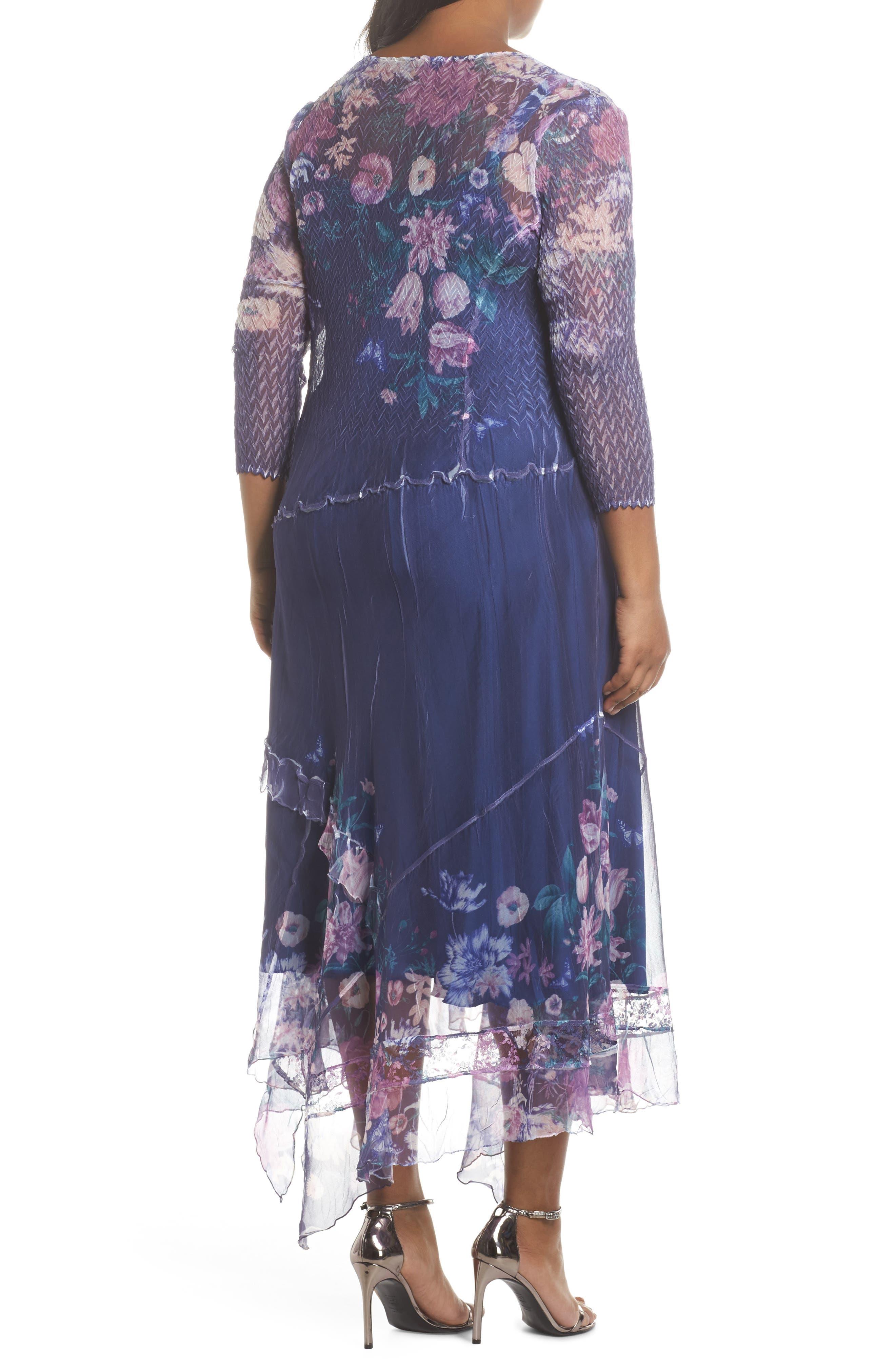 Alternate Image 2  - Komarov Chiffon Handkerchief Hem Dress (Plus Size)