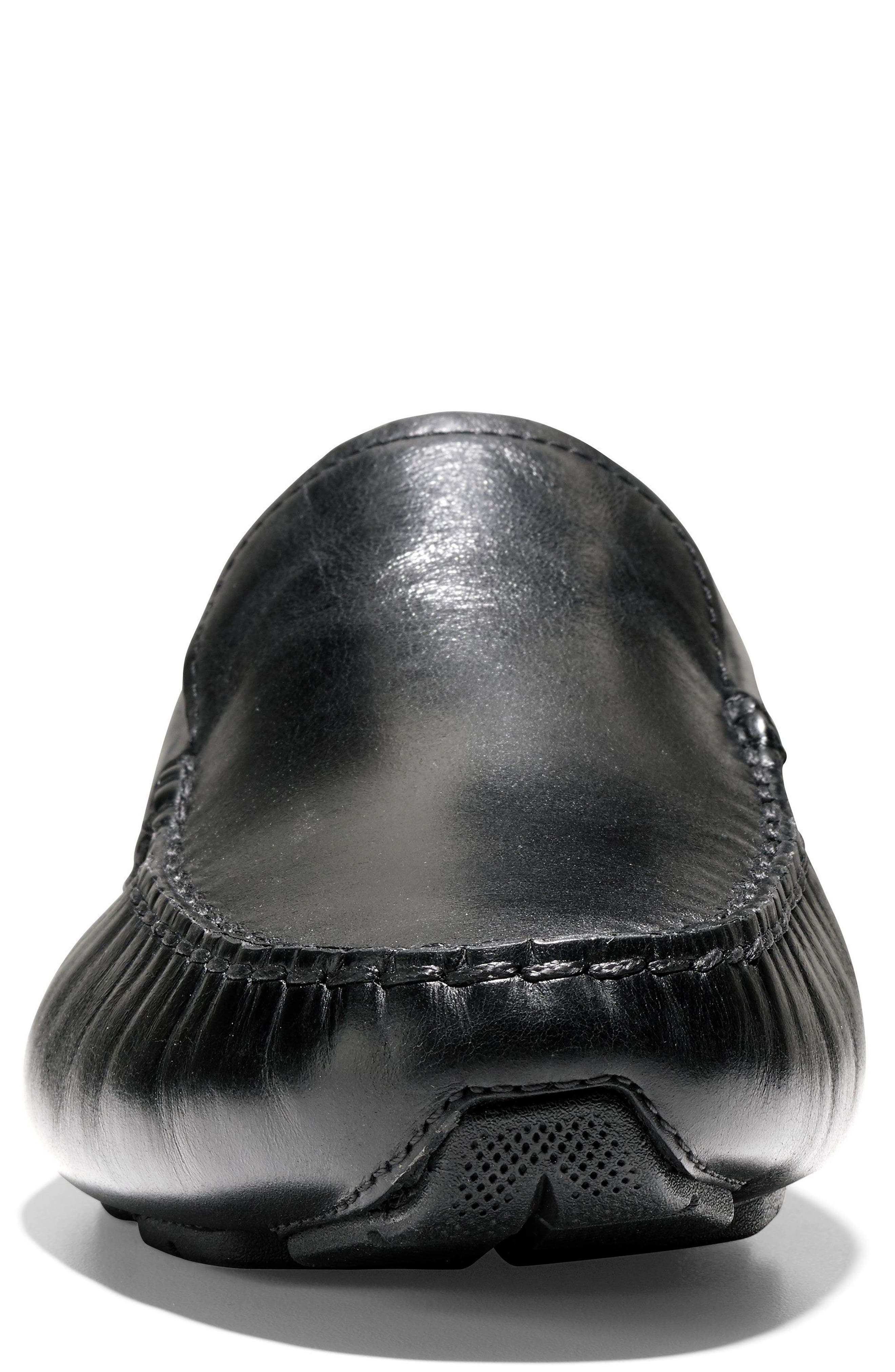 Branson Driving Shoe,                             Alternate thumbnail 4, color,                             Black Leather