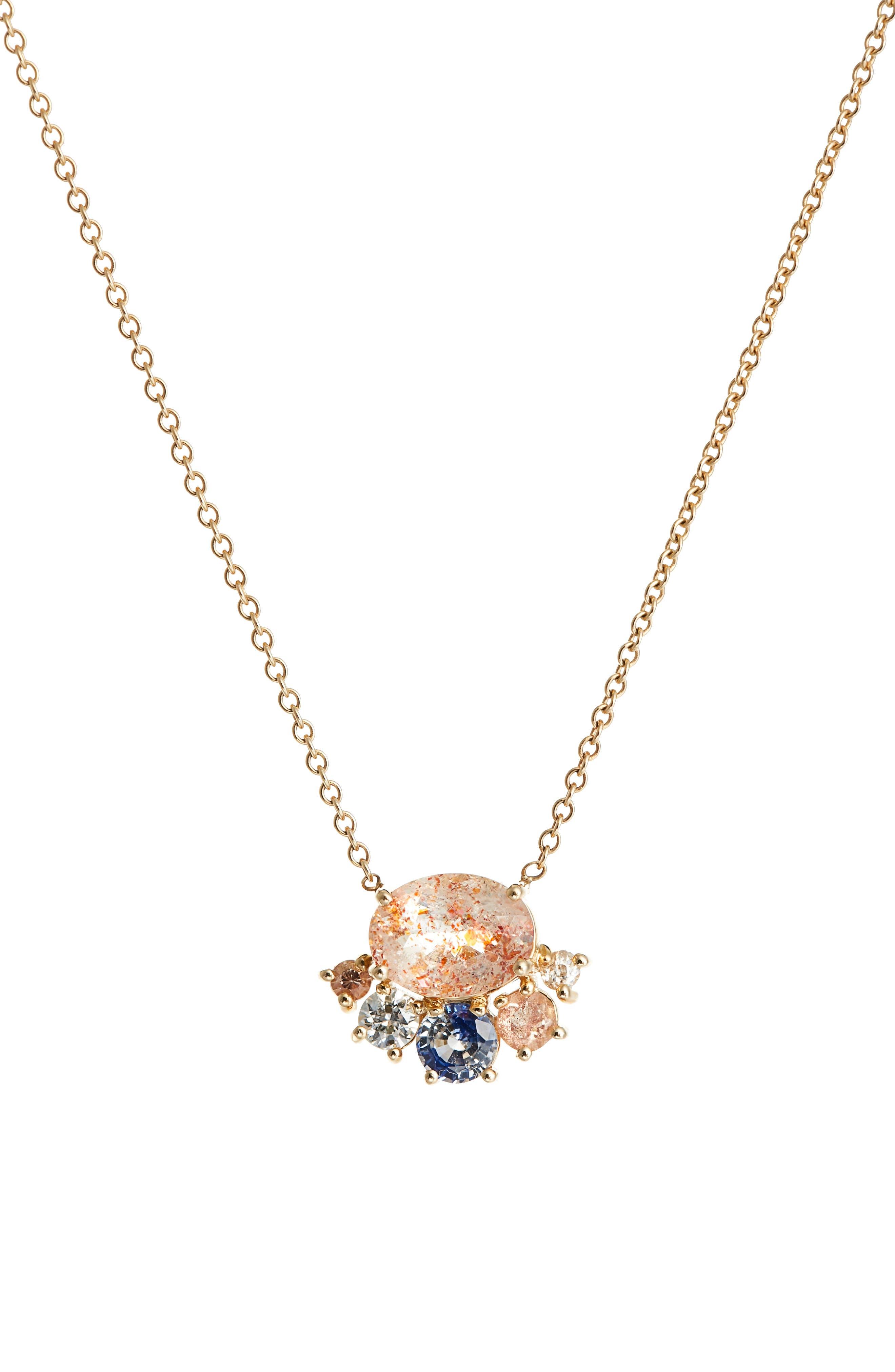 Mociun Oregon Sunstone, Sapphire & Diamond Necklace
