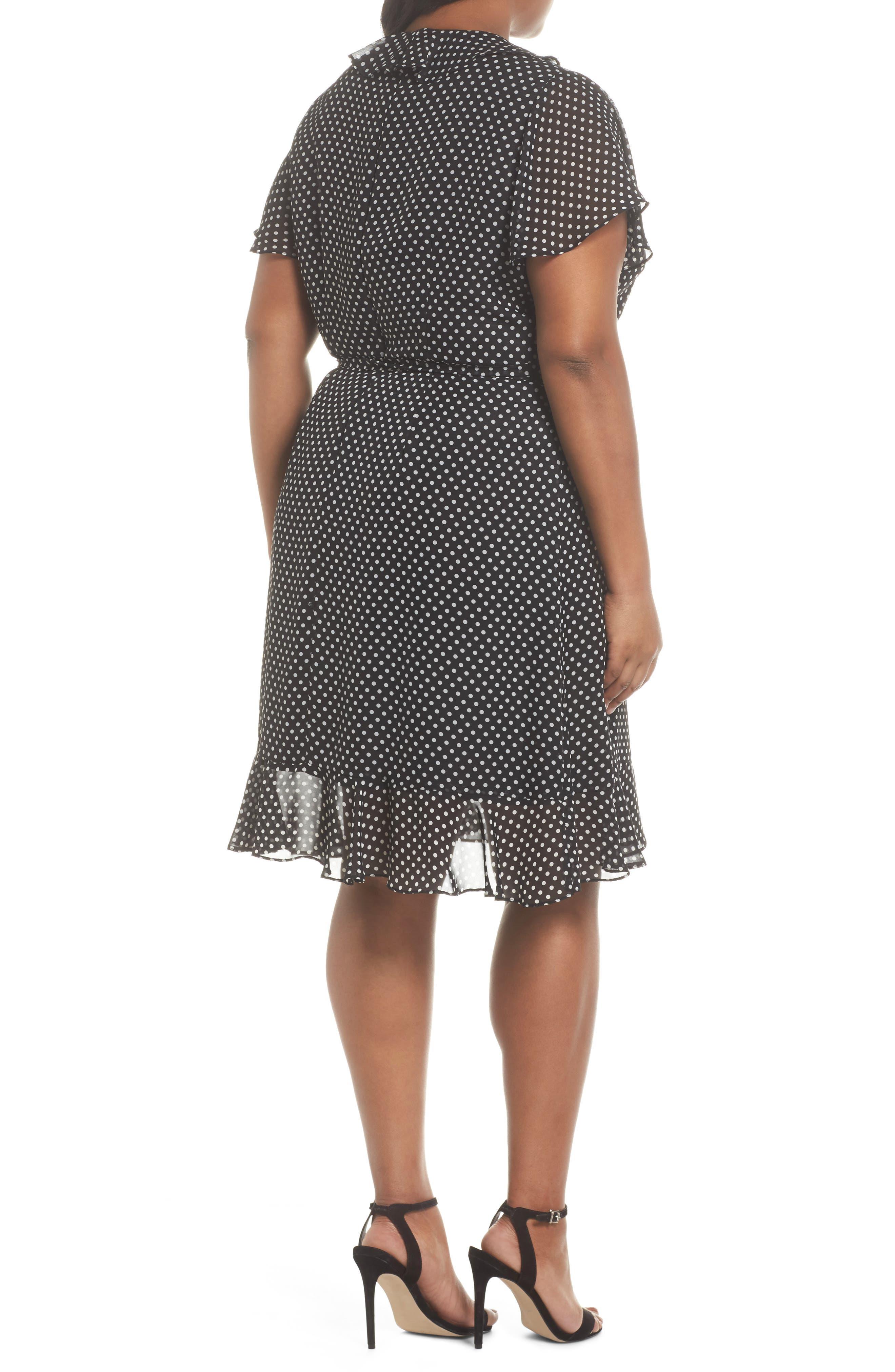Polka Dot Faux Wrap Ruffle Dress,                             Alternate thumbnail 2, color,                             Black/ Ivory