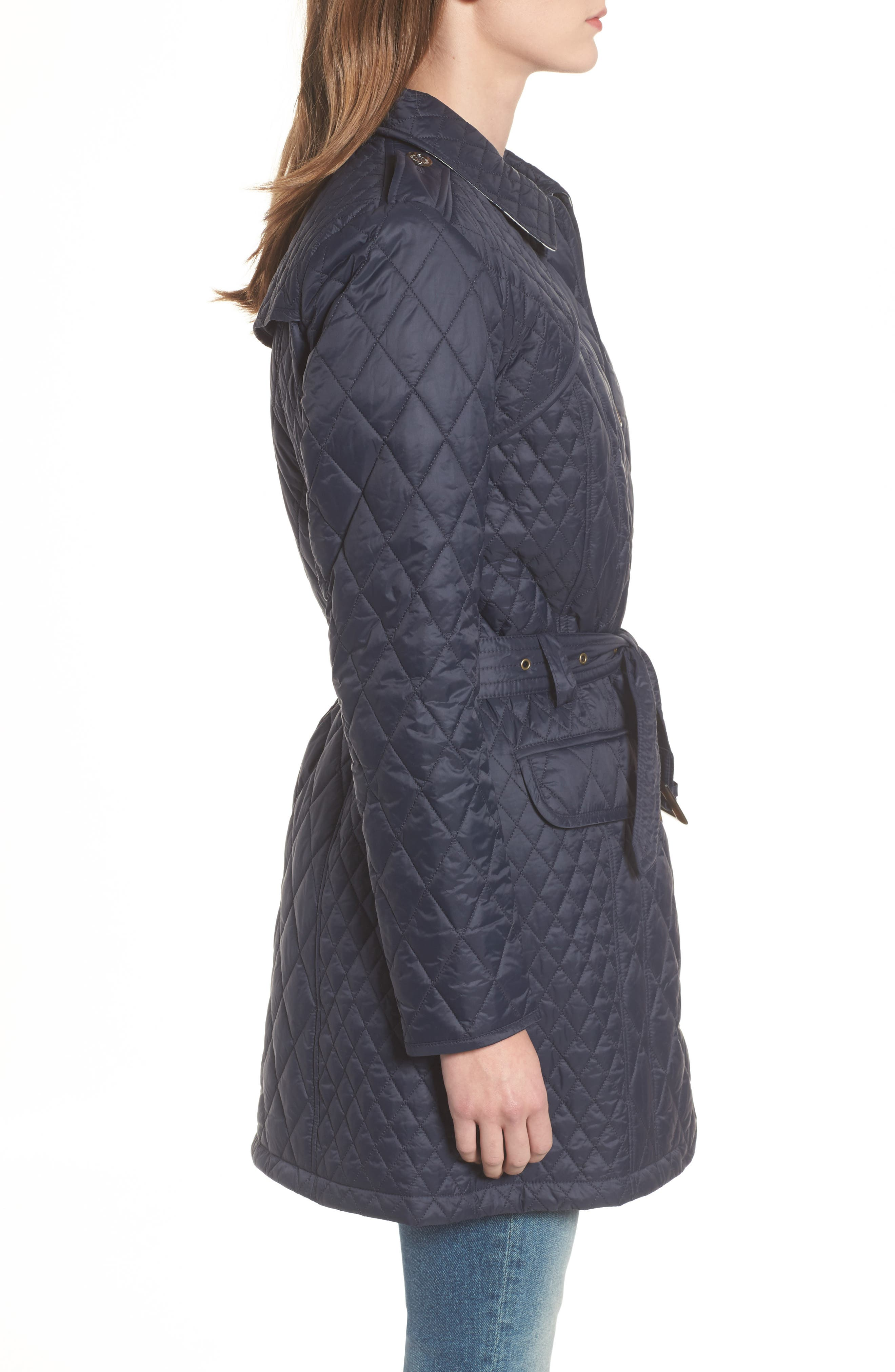 Hailes Quilted Trench Jacket,                             Alternate thumbnail 3, color,                             Navy