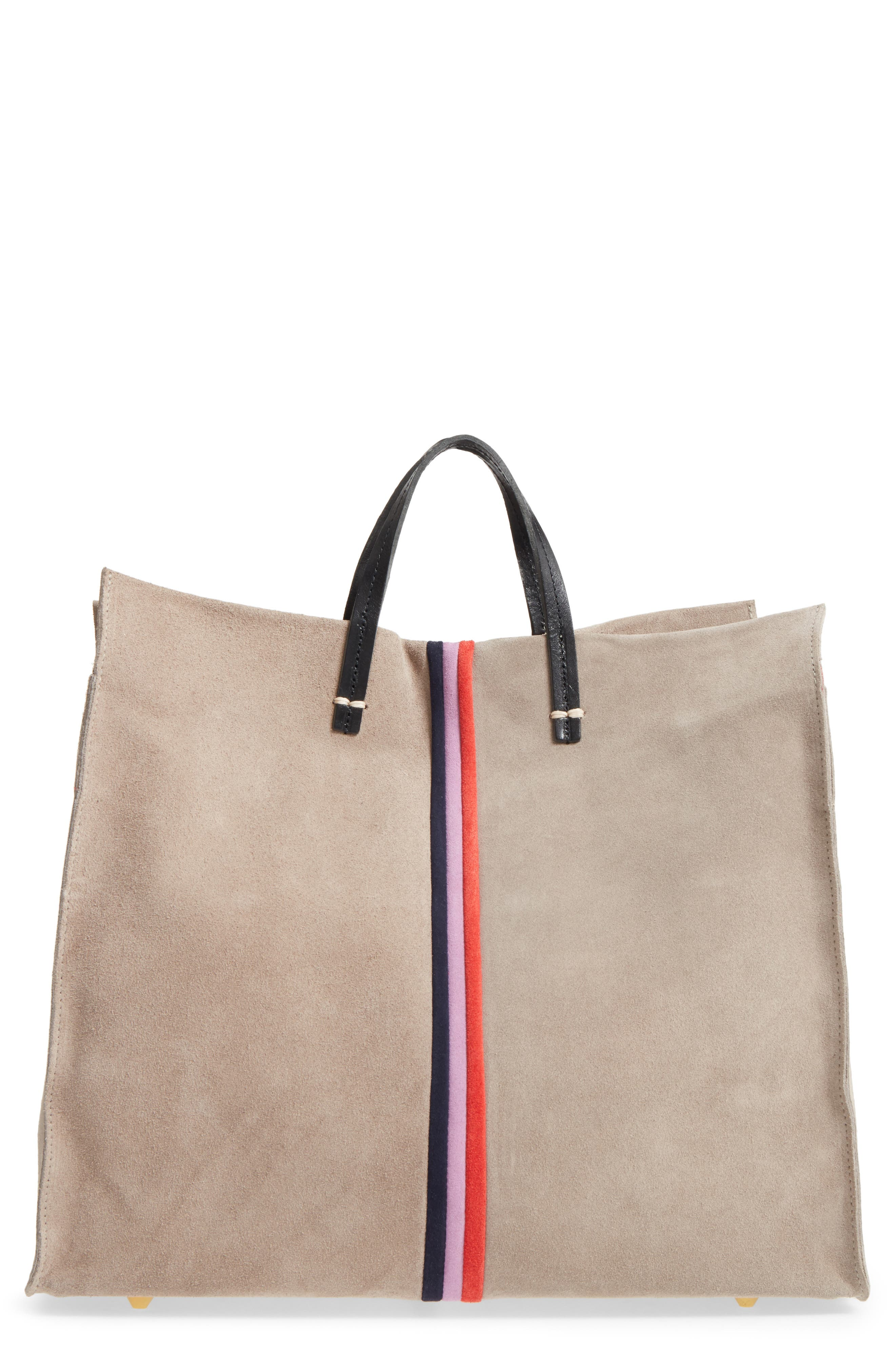 Alternate Image 1 Selected - Clare V. Mini Stripe Simple Suede Tote
