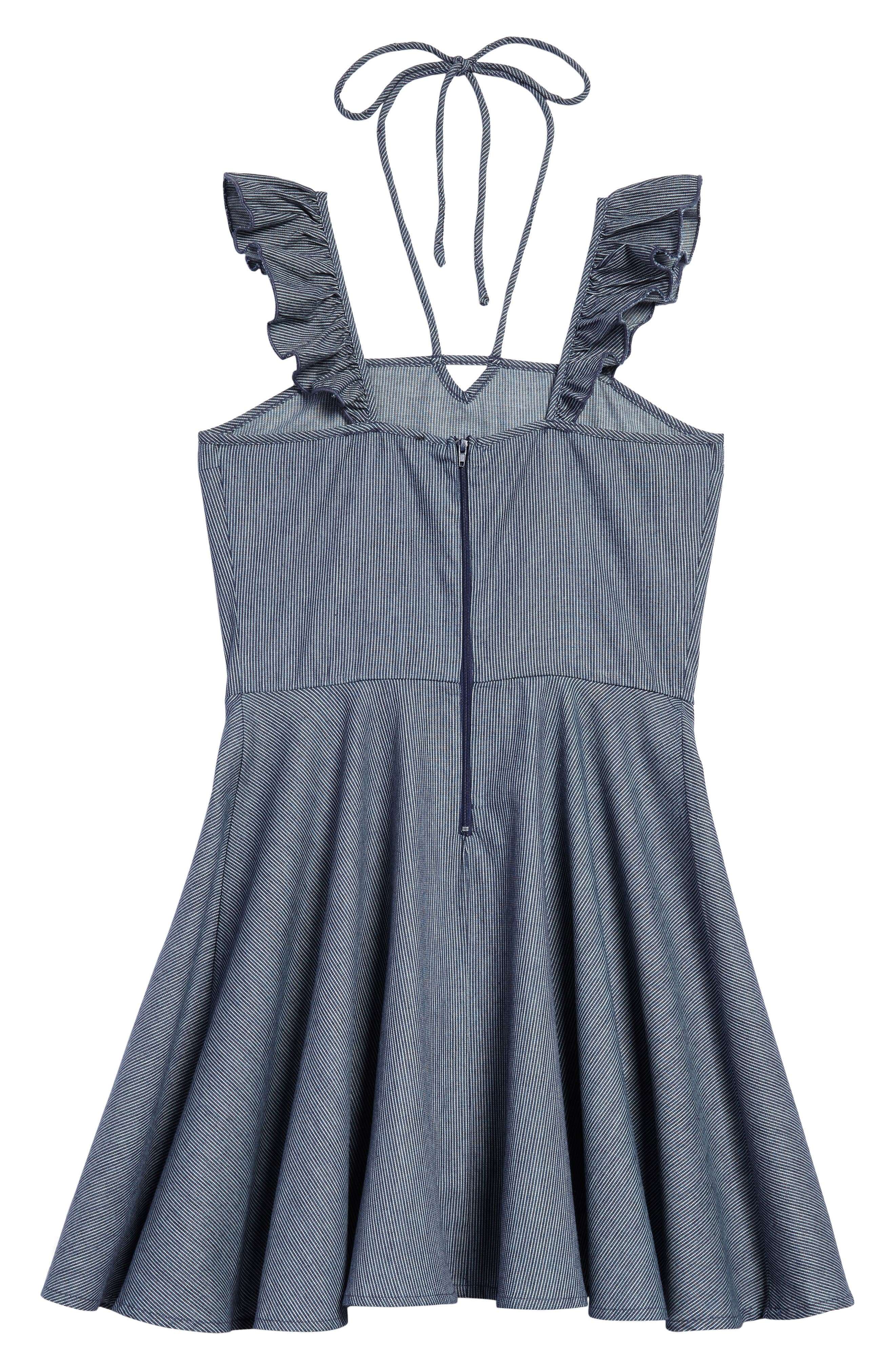 Ruffle Shoulder Dress,                             Alternate thumbnail 2, color,                             Navy