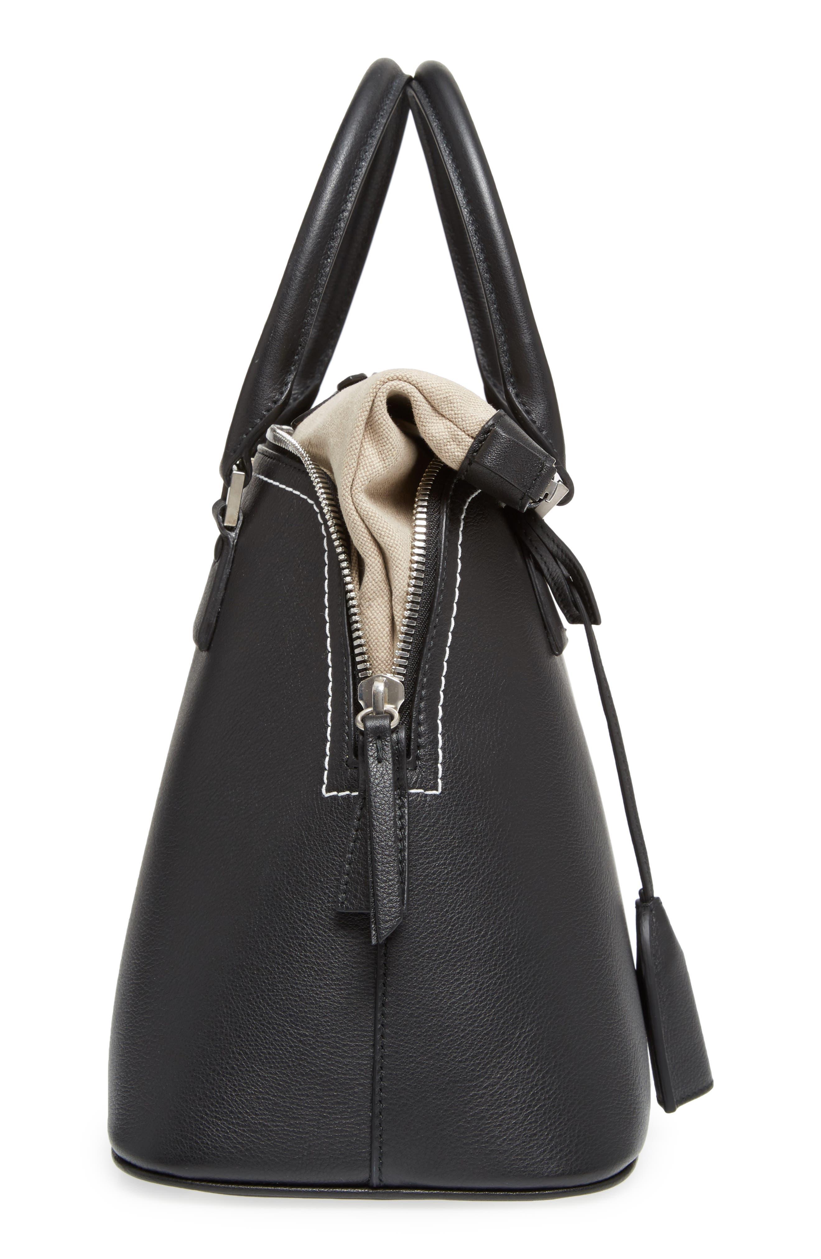 Medium 5AC Leather Handbag,                             Alternate thumbnail 5, color,                             Black