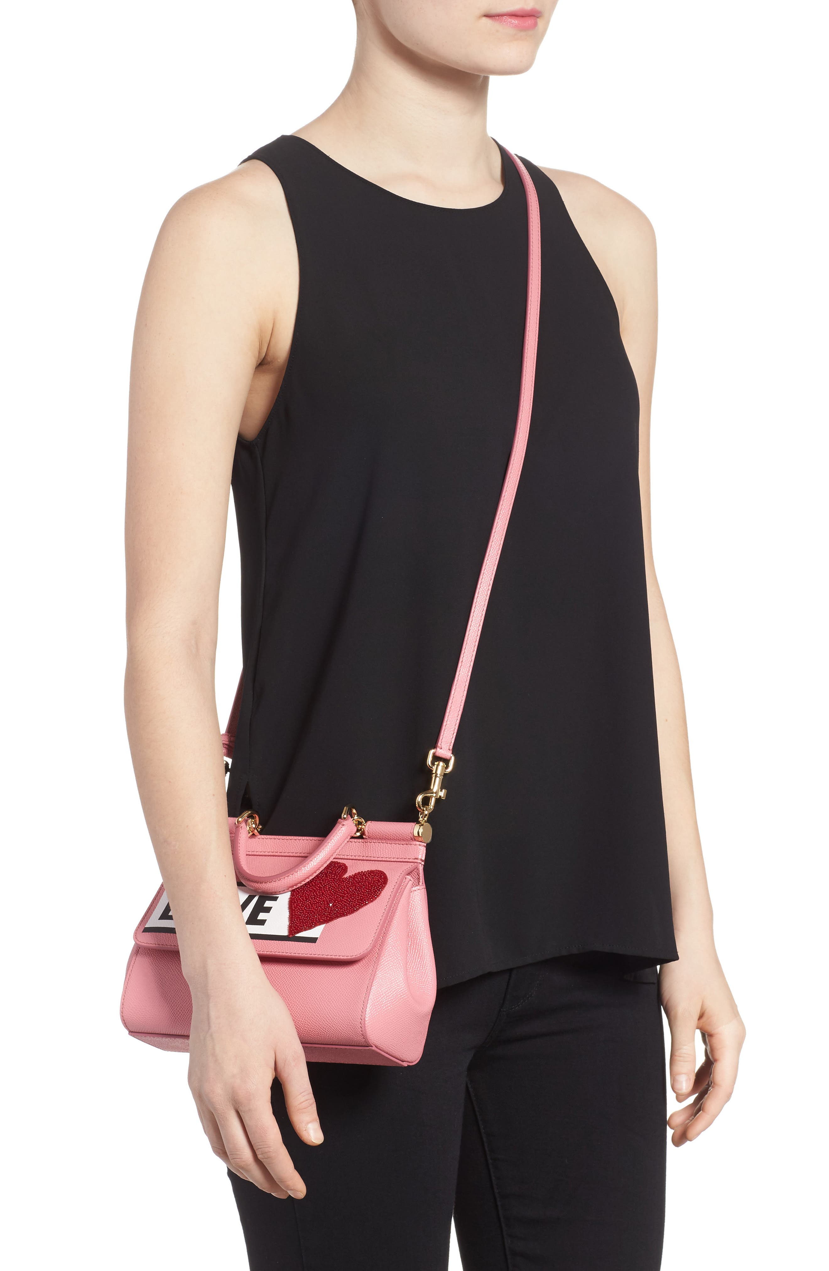 Small Miss Sicily - Love Leather Satchel,                             Alternate thumbnail 2, color,                             Rosa Intenso
