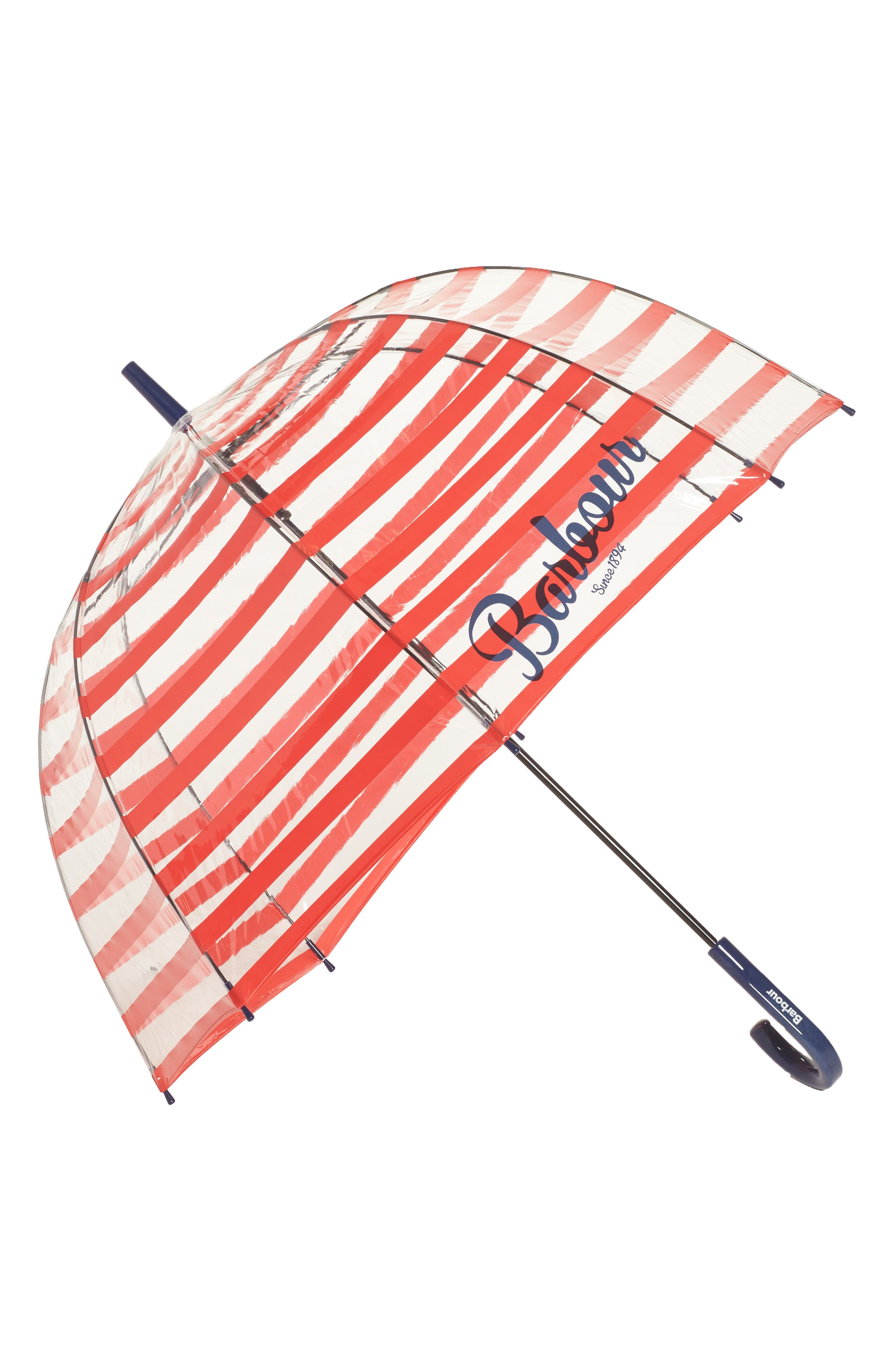 Stripe Bubble Umbrella,                             Main thumbnail 1, color,                             Red/ Navy