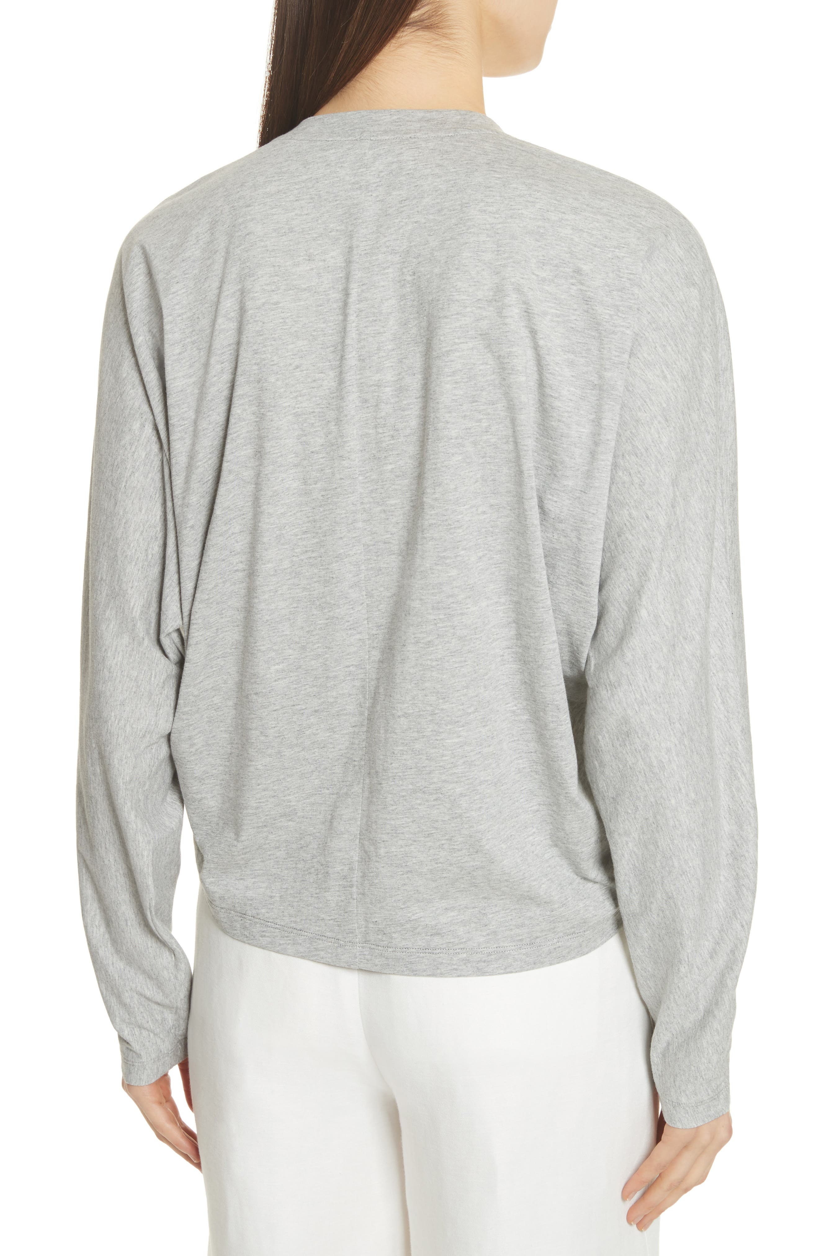 Ruched Front Tee,                             Alternate thumbnail 2, color,                             Heather Grey