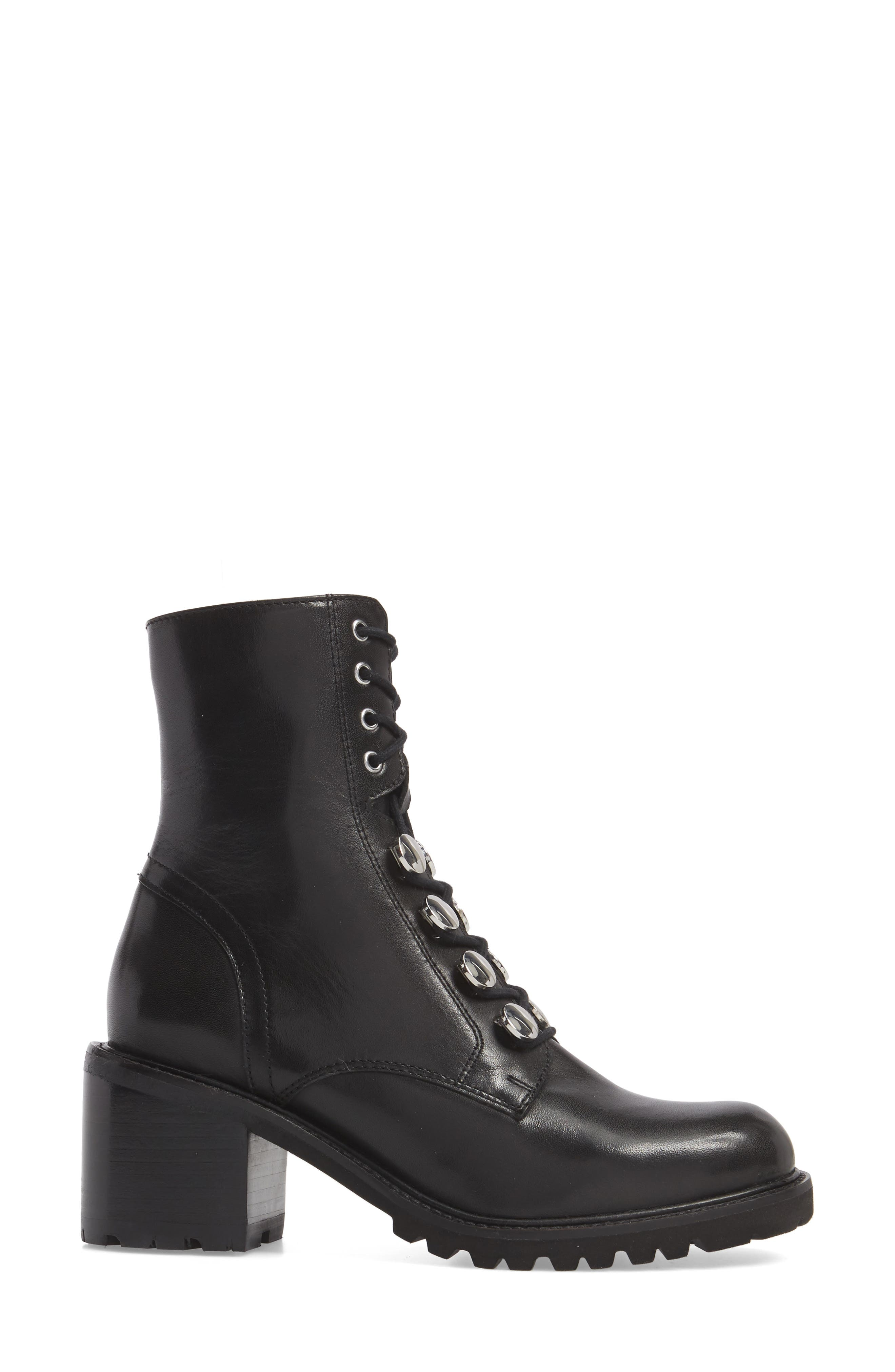 Make it Count Lace-Up Boot,                             Alternate thumbnail 3, color,                             Black Leather