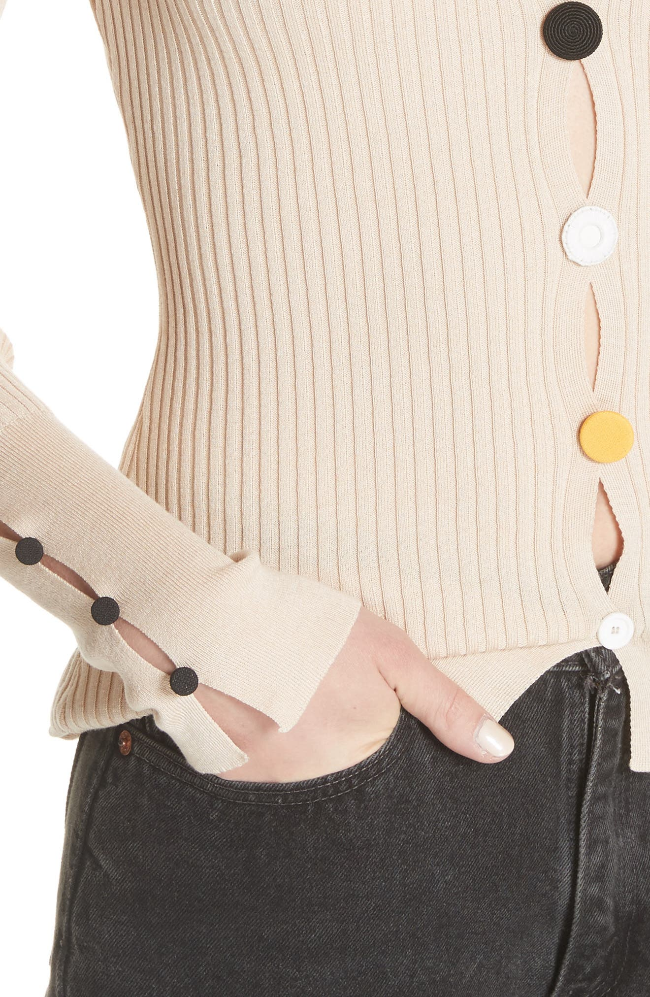 Le Cardigan Ribbed Button Cardigan,                             Alternate thumbnail 4, color,                             Beige