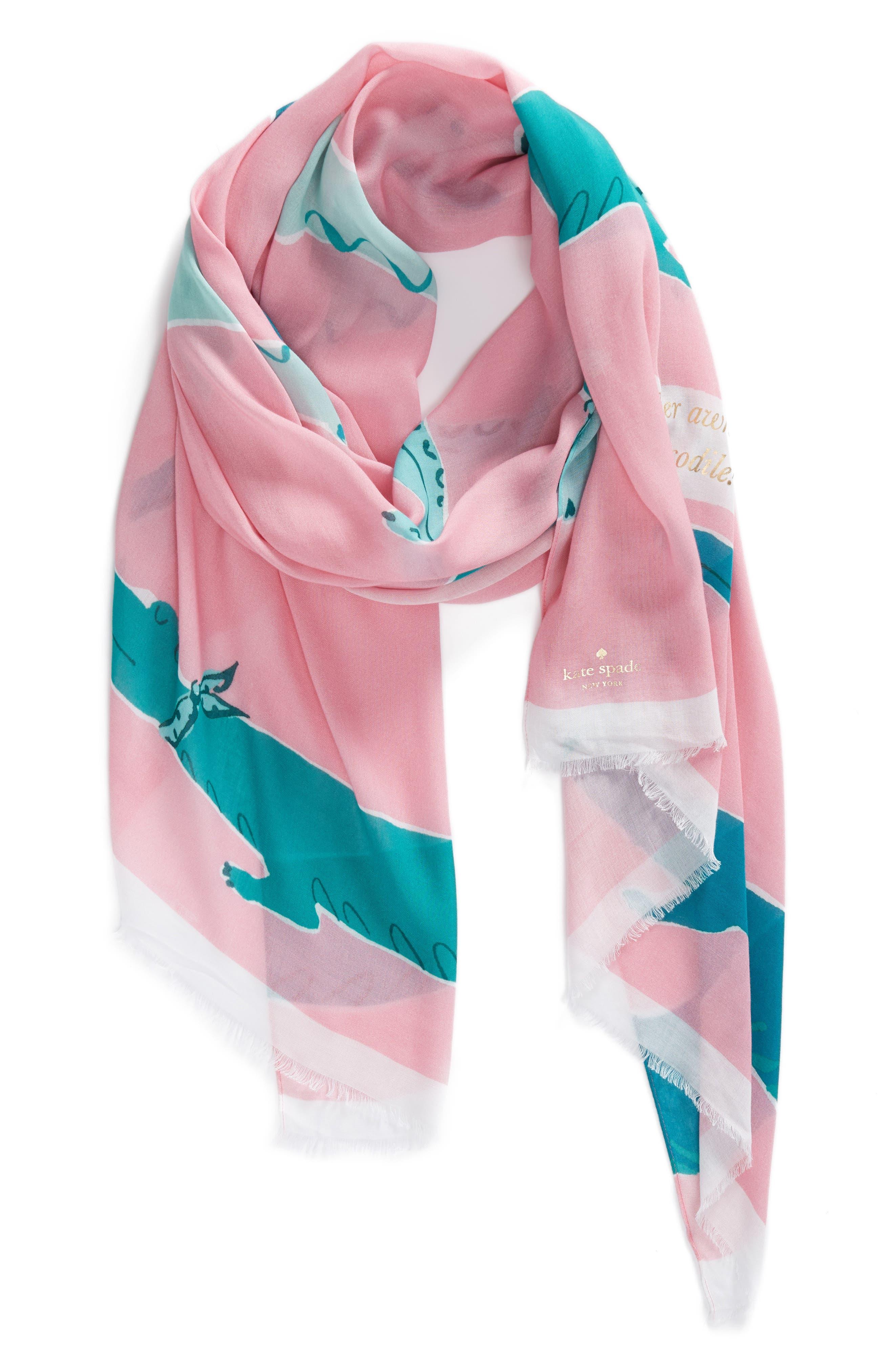 alligator scarf,                             Alternate thumbnail 3, color,                             Pink Majolica