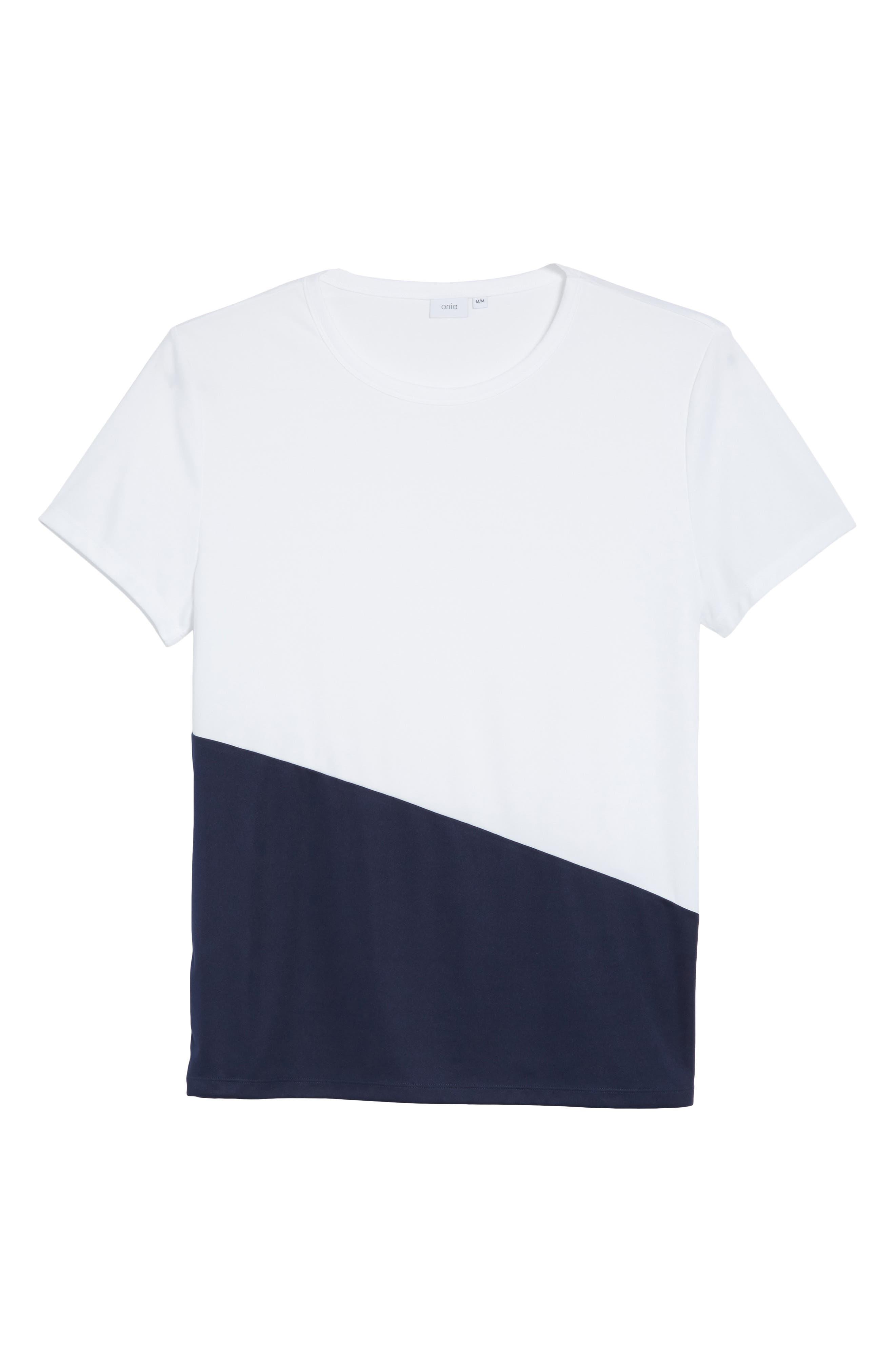 Colorblock Crewneck T-Shirt,                             Alternate thumbnail 6, color,                             Deep Navy/ White