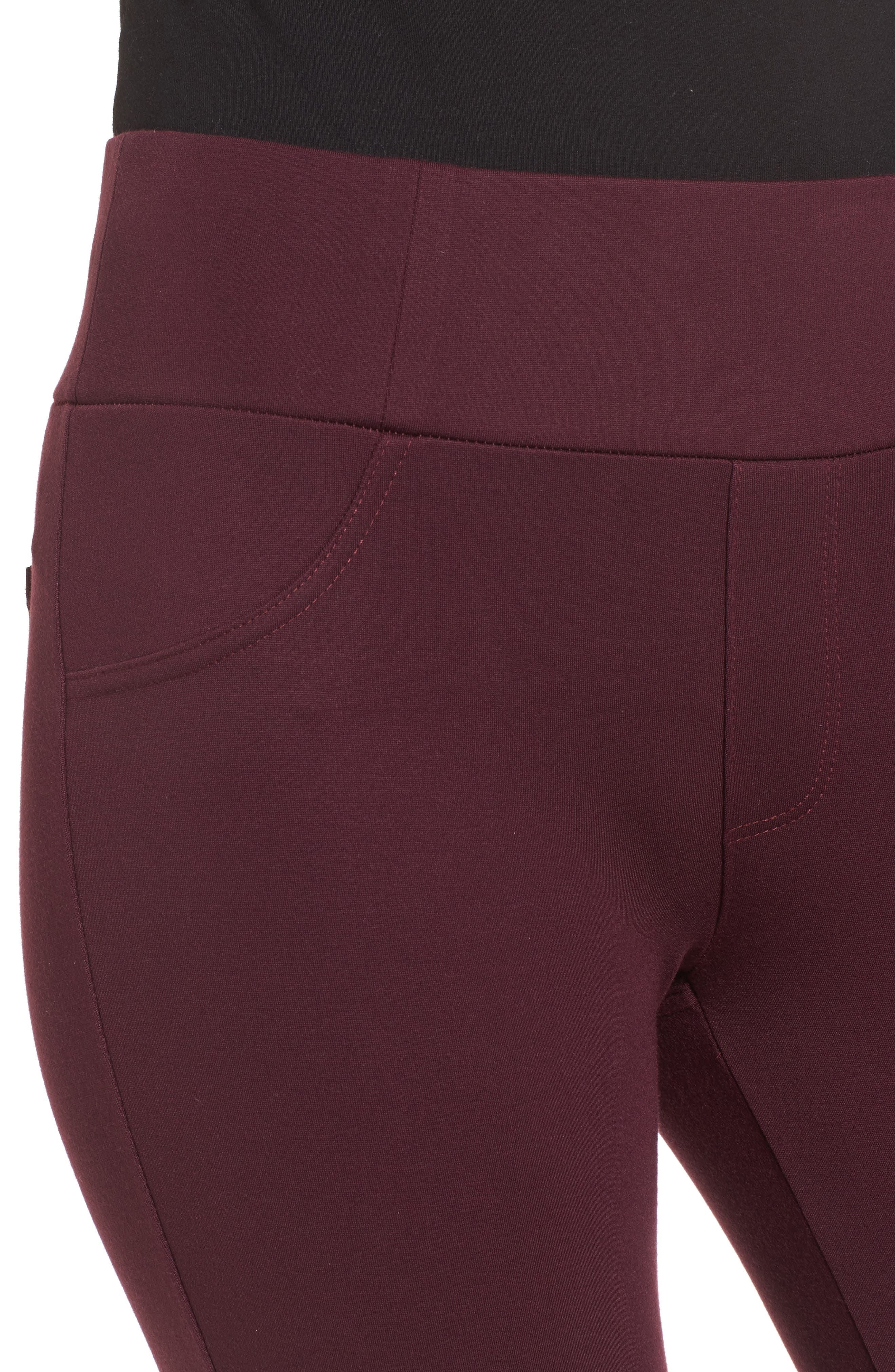 High Waist Ponte Pants,                             Alternate thumbnail 4, color,                             Wine