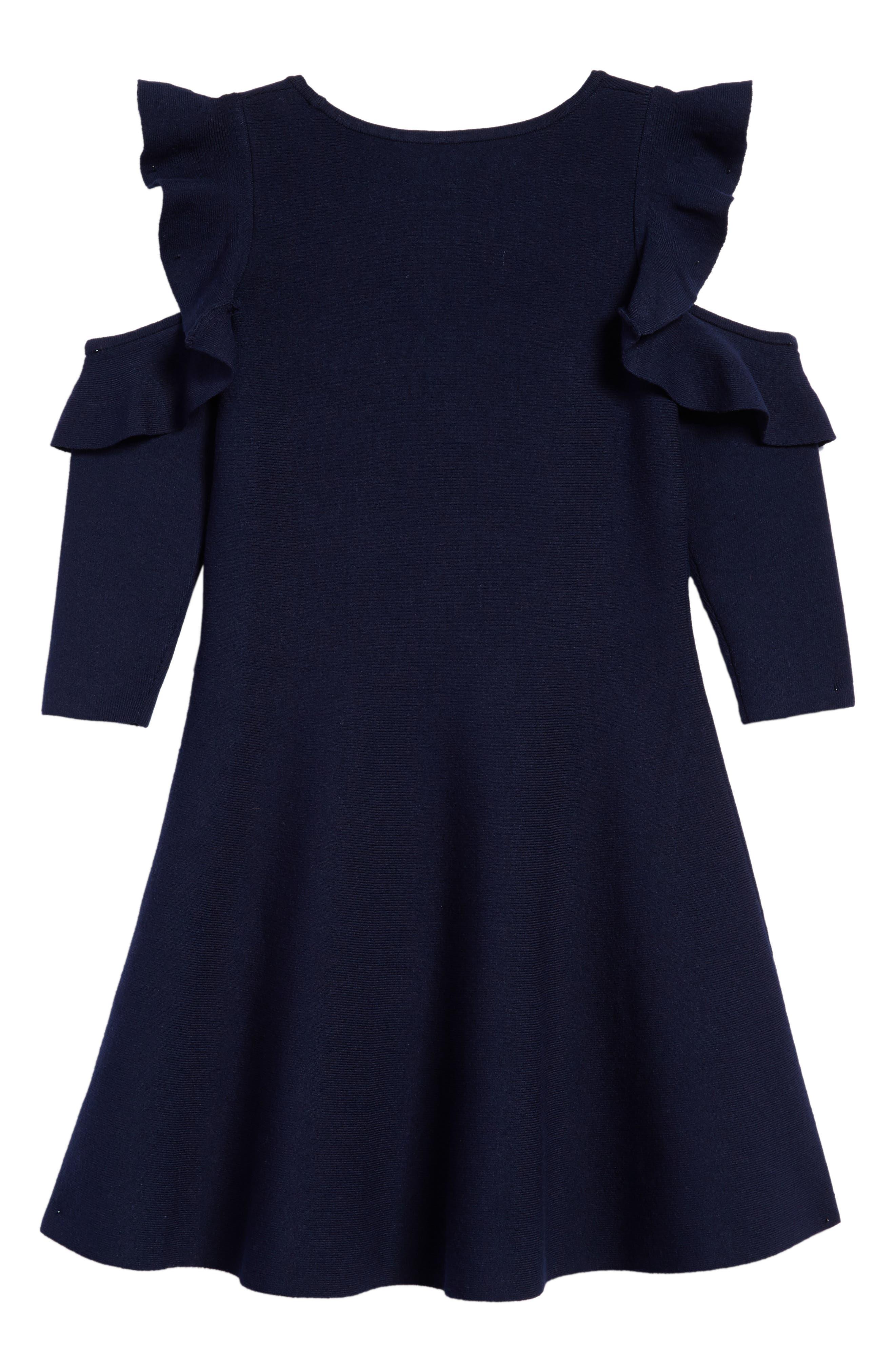 Alternate Image 2  - Milly Minis Cold Shoulder Skater Dress (Big Girls)
