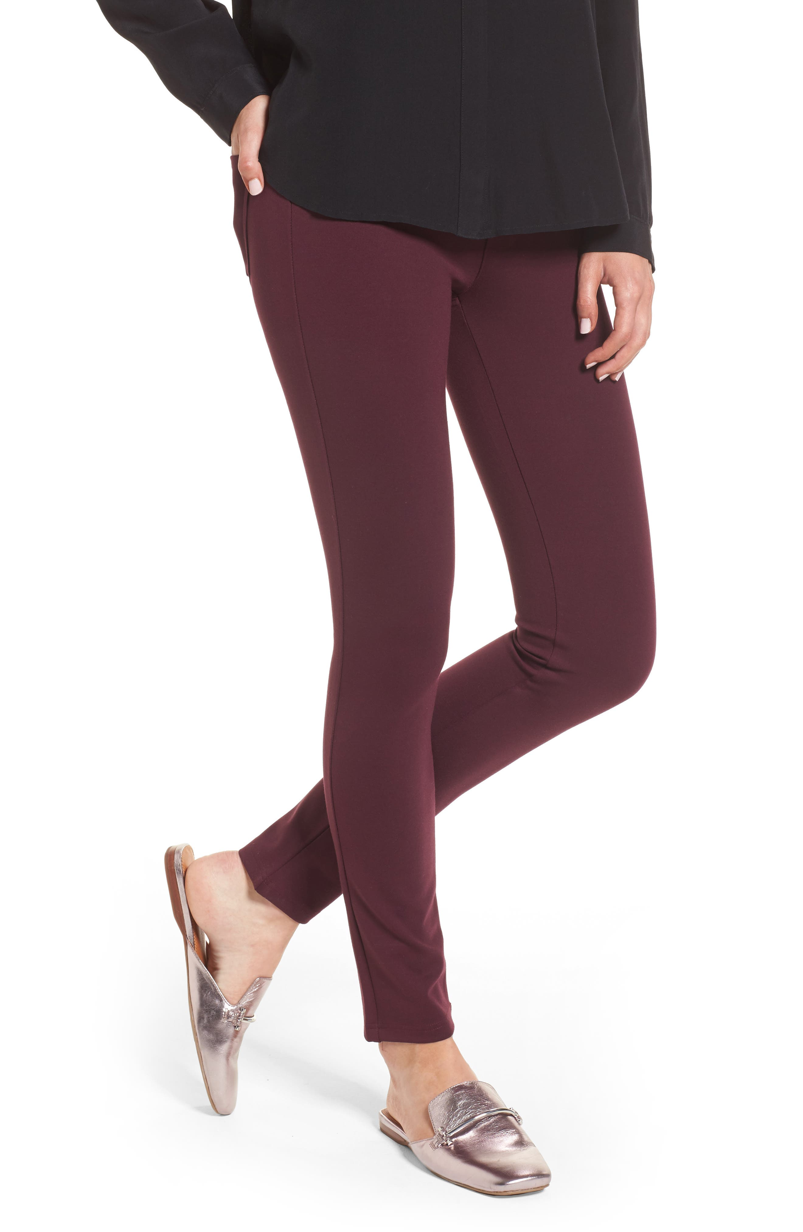 High Waist Ponte Pants,                             Main thumbnail 1, color,                             Wine