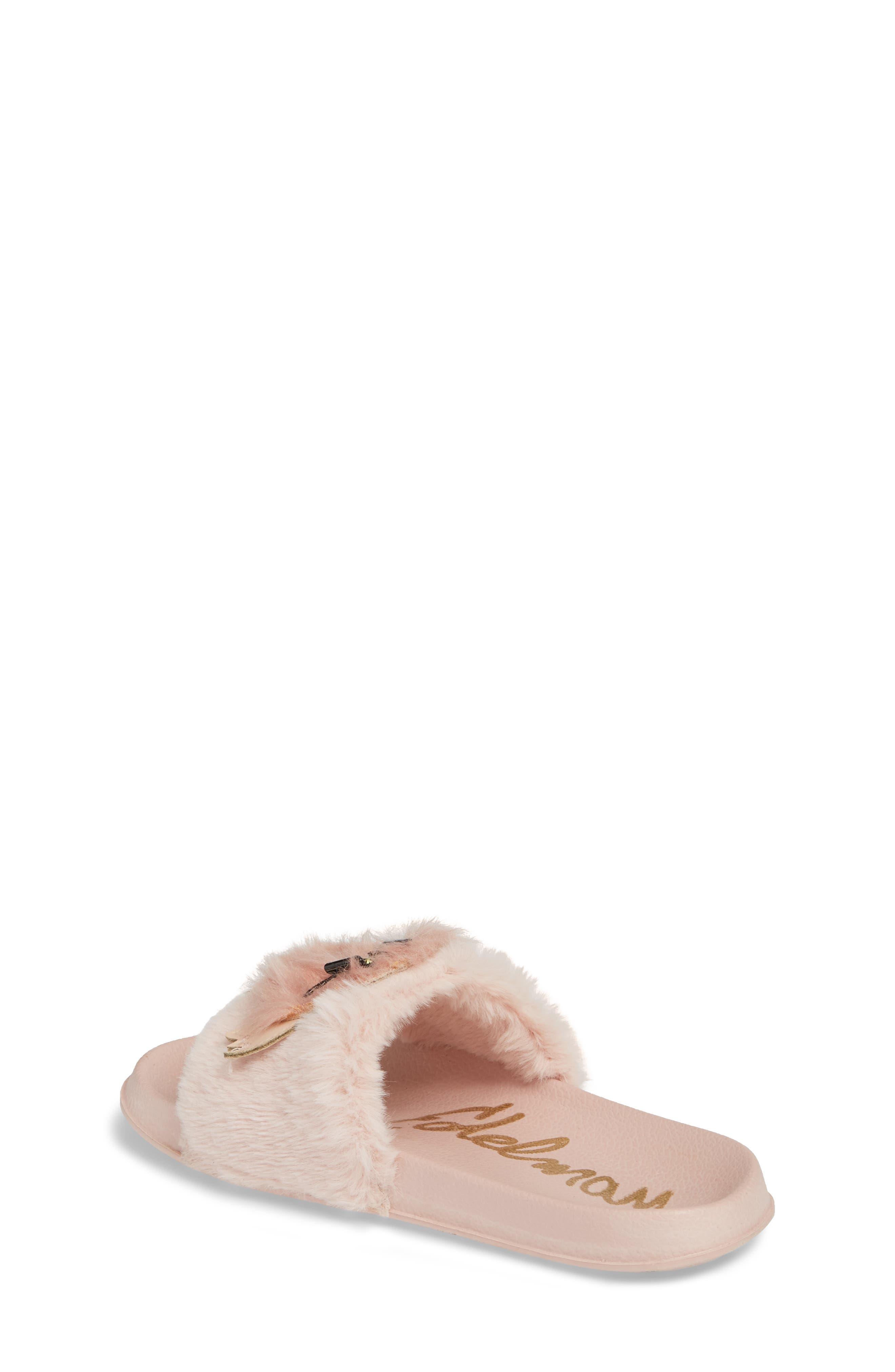 Mackie Furry Faux Fur Slide Sandal,                             Alternate thumbnail 2, color,                             Blush Faux Fur