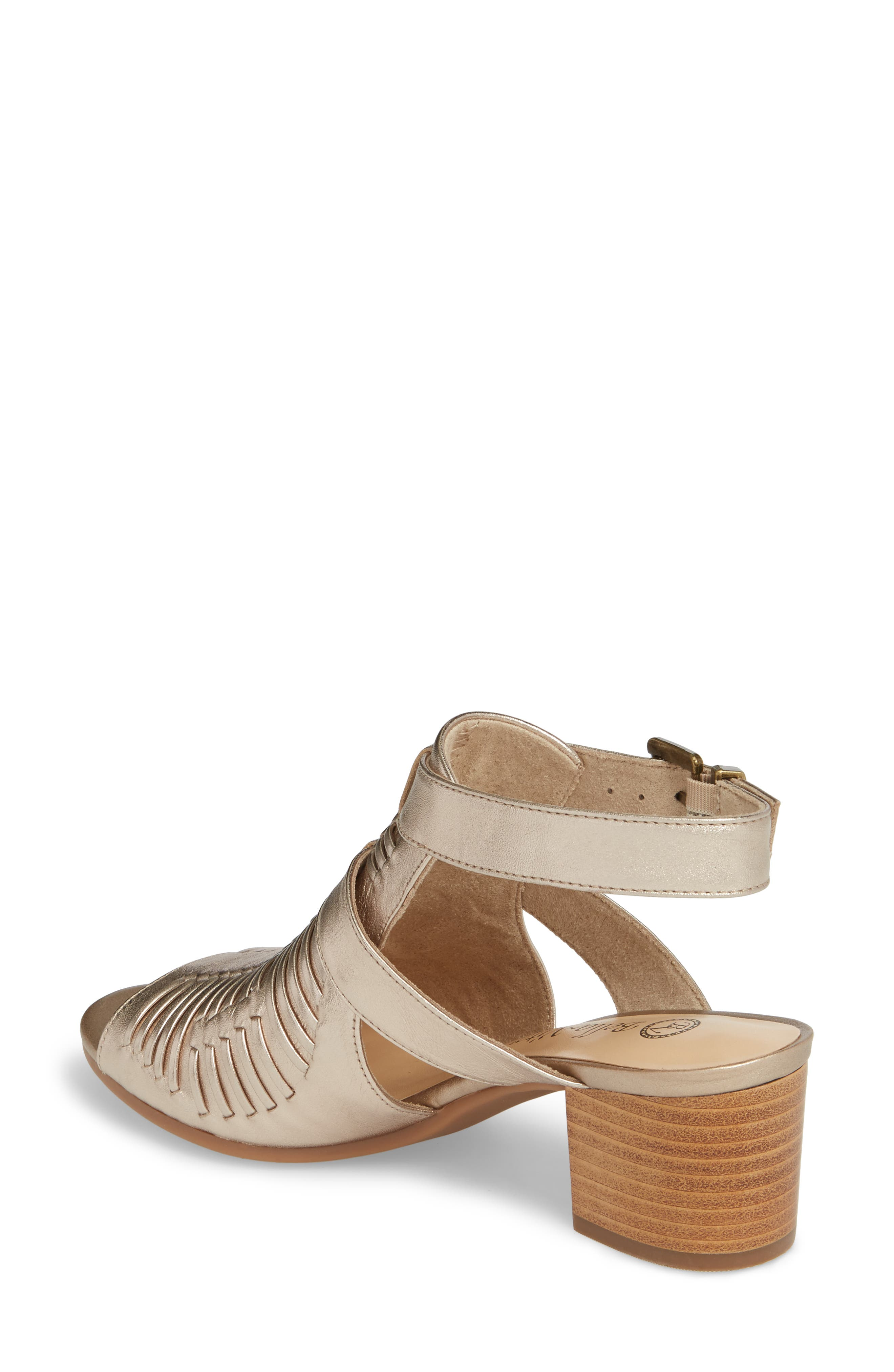 Finley Ankle Strap Sandal,                             Alternate thumbnail 2, color,                             Champagne Fabric