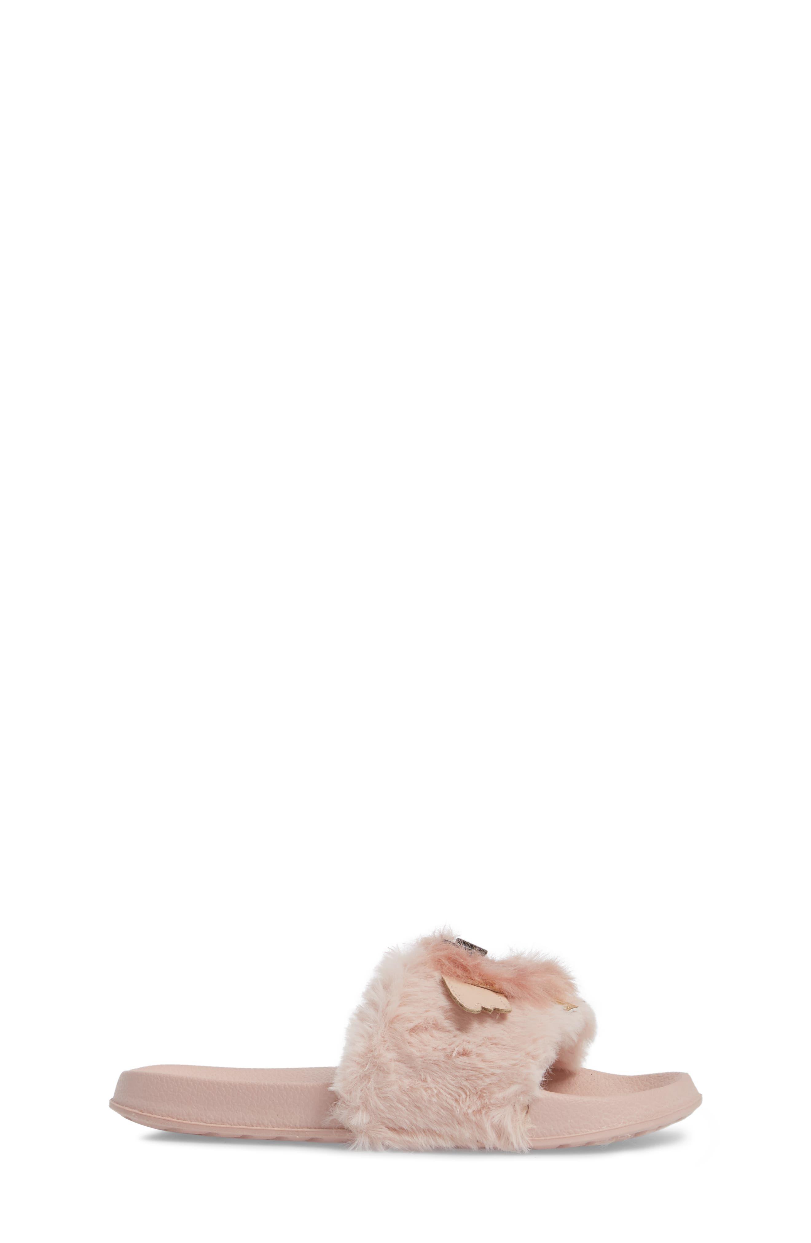 Mackie Furry Faux Fur Slide Sandal,                             Alternate thumbnail 3, color,                             Blush Faux Fur