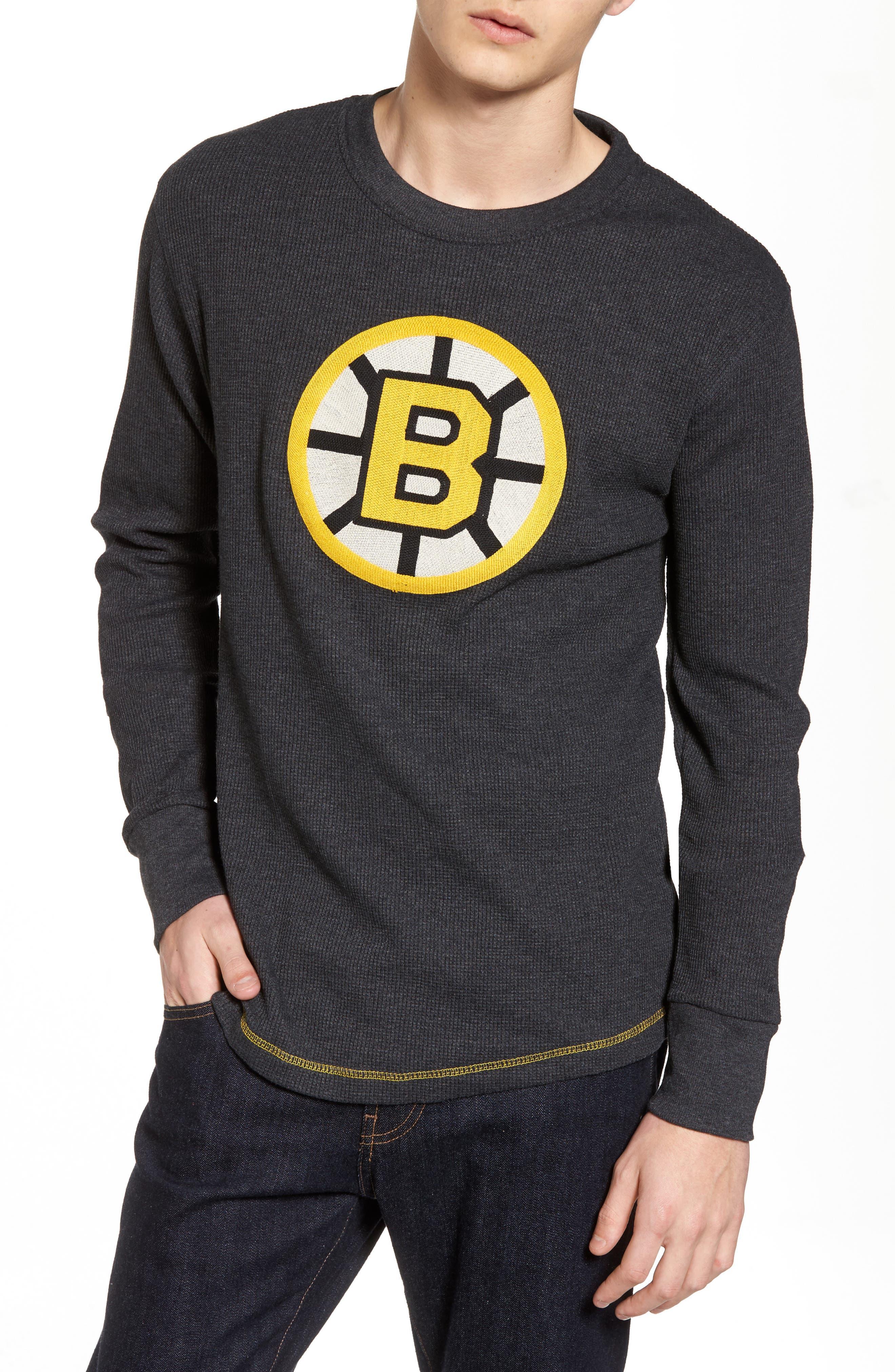 Boston Bruins Embroidered Long Sleeve Thermal Shirt,                             Main thumbnail 1, color,                             Black