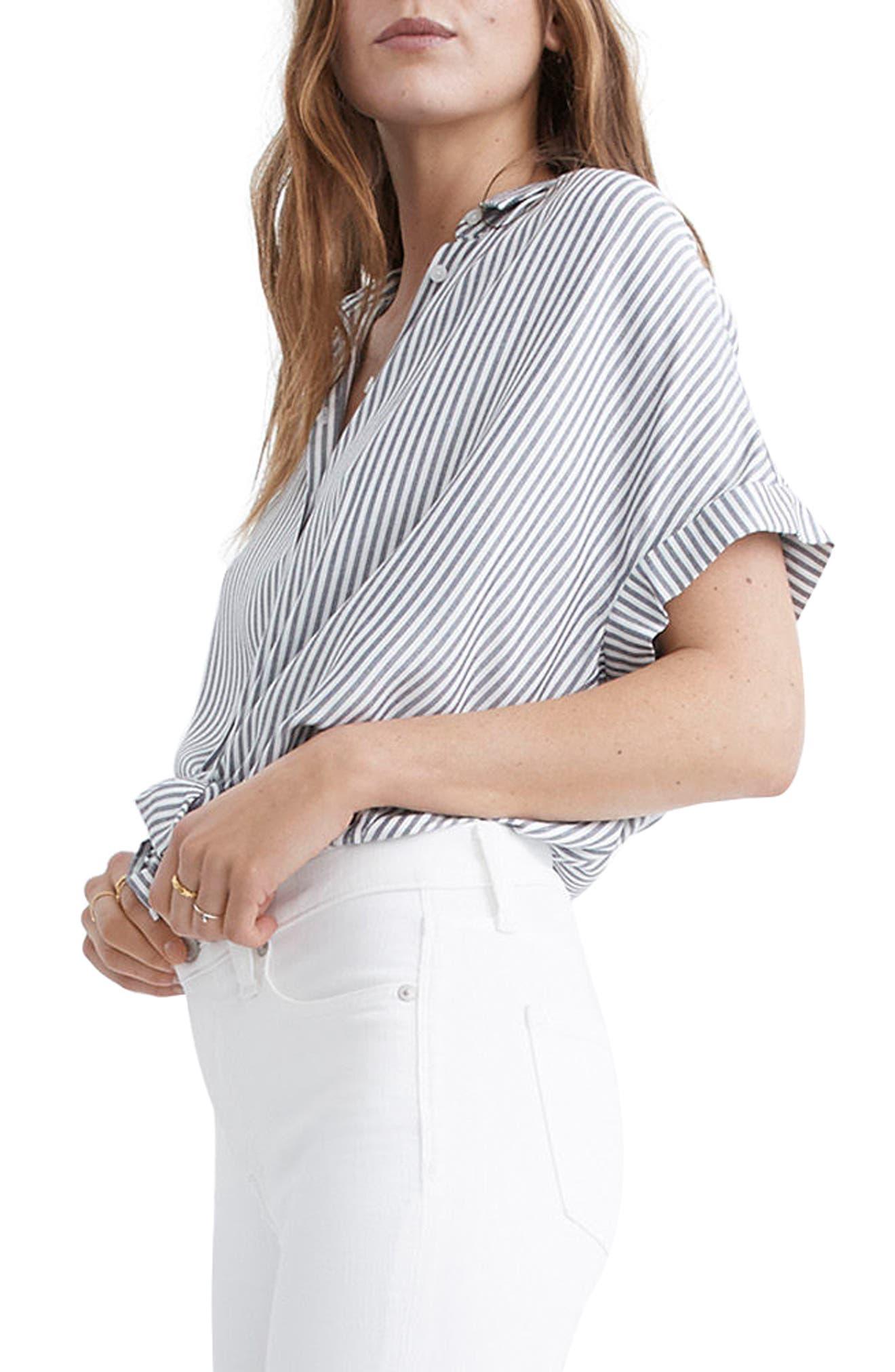 Central Stripe Shirt,                             Alternate thumbnail 3, color,                             Navy/ Ivory Stripe