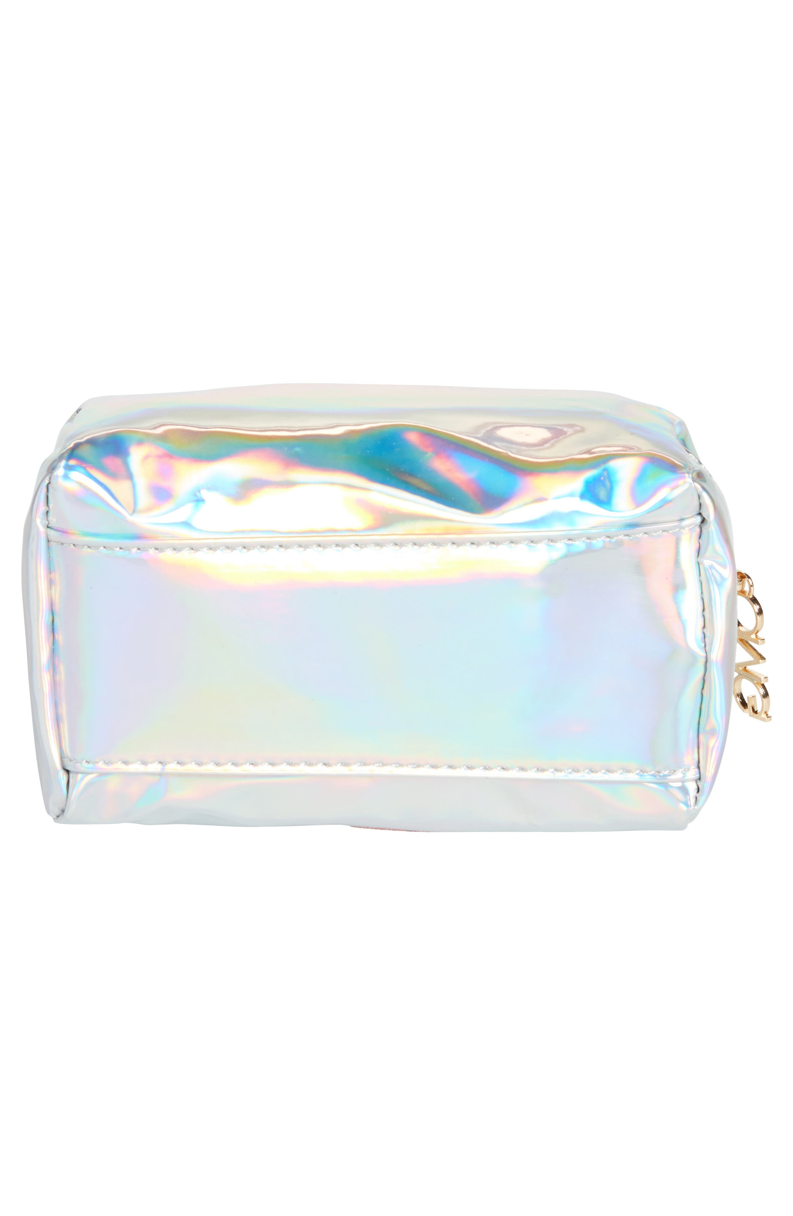 Glitter Eye Iridescent Cosmetics Bag,                             Alternate thumbnail 4, color,                             Silver