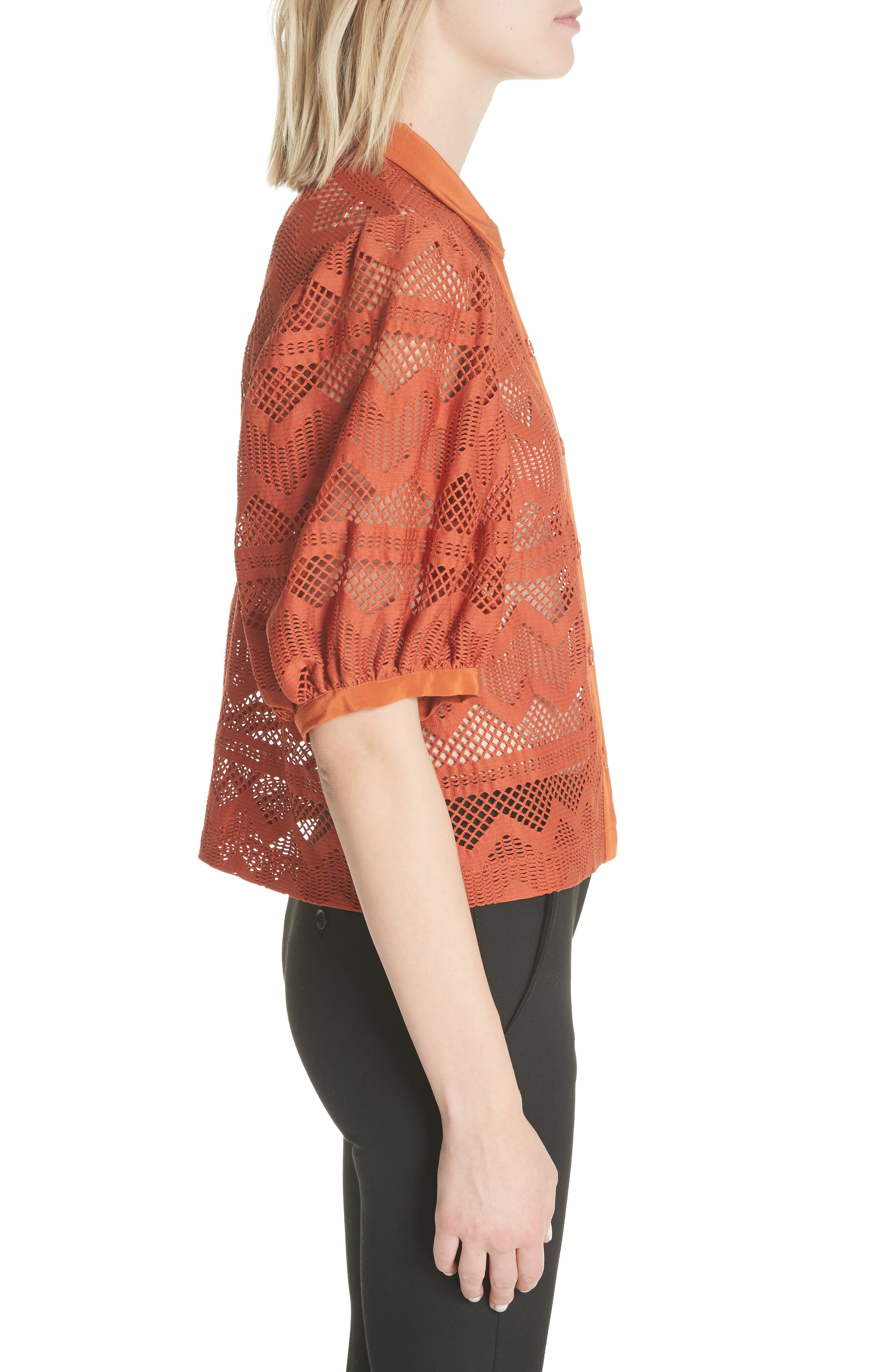 Puff Sleeve Lace Blouse,                             Alternate thumbnail 3, color,                             Brick