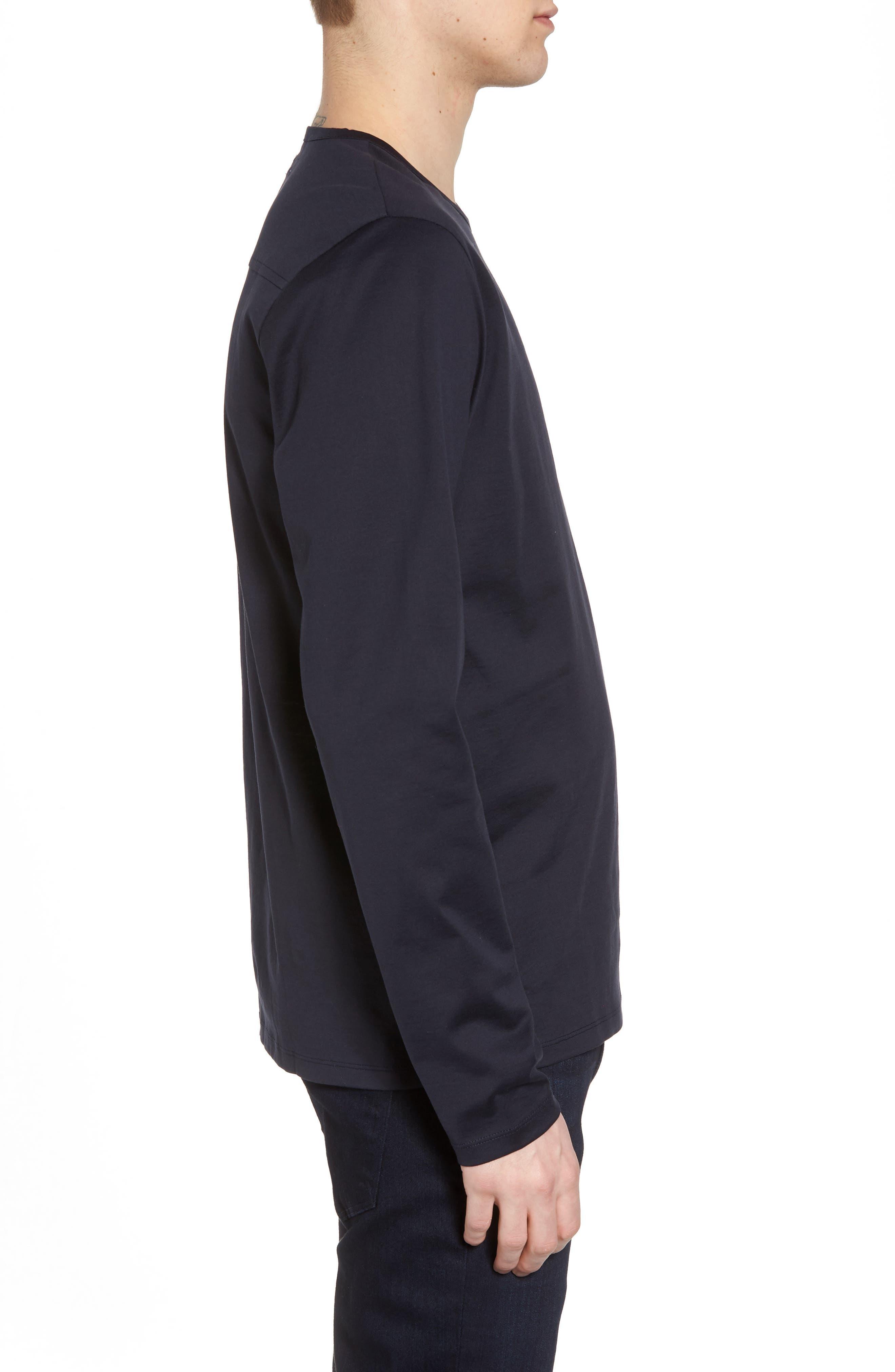 Mercerized Cotton Crewneck Long Sleeve T-Shirt,                             Alternate thumbnail 3, color,                             Navy Night